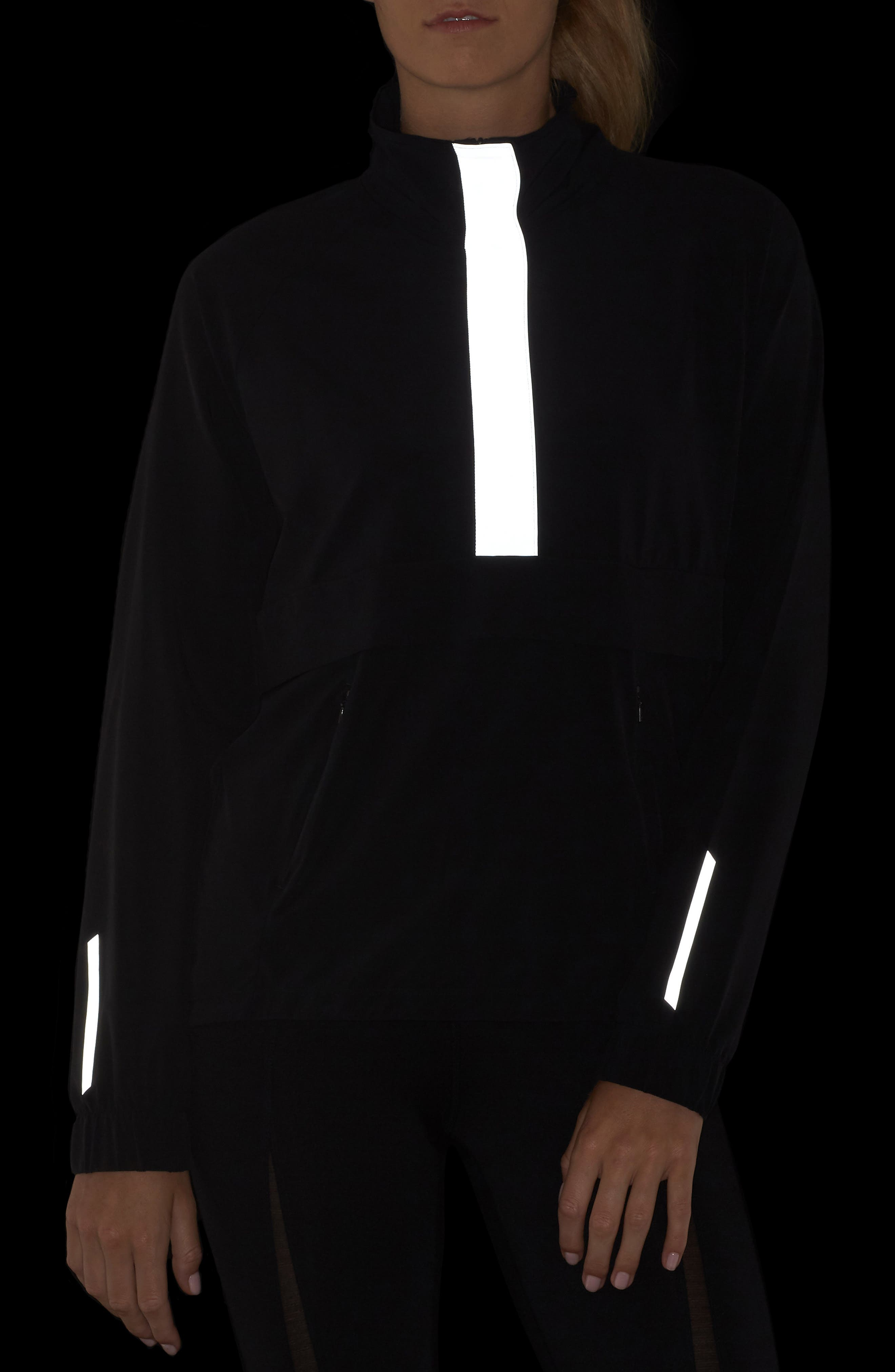 Freestyle Reflective Run Pullover,                             Alternate thumbnail 4, color,                             BLACK