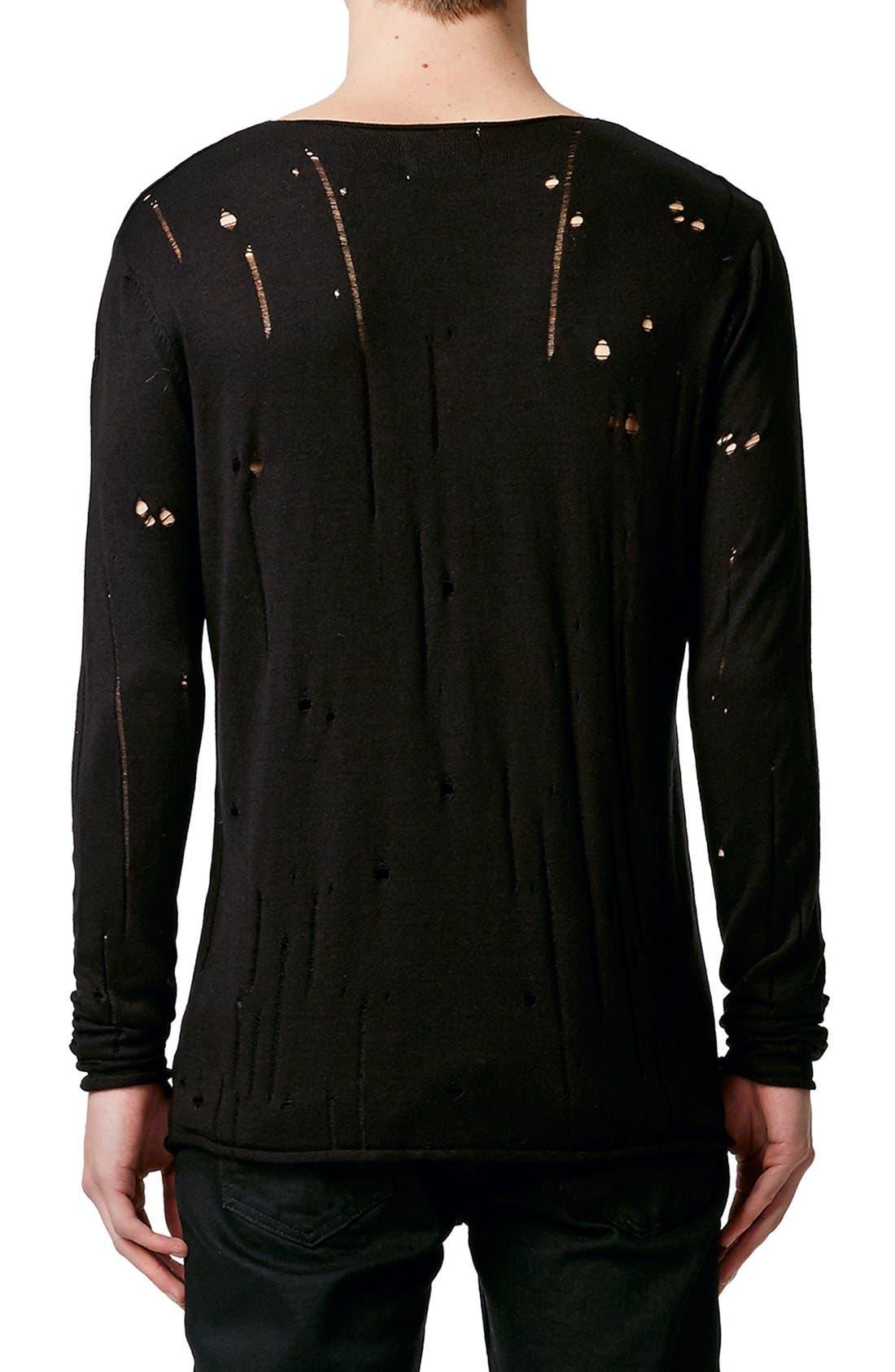 Moth Distressed Long Sleeve Knit T-Shirt,                             Alternate thumbnail 5, color,                             001