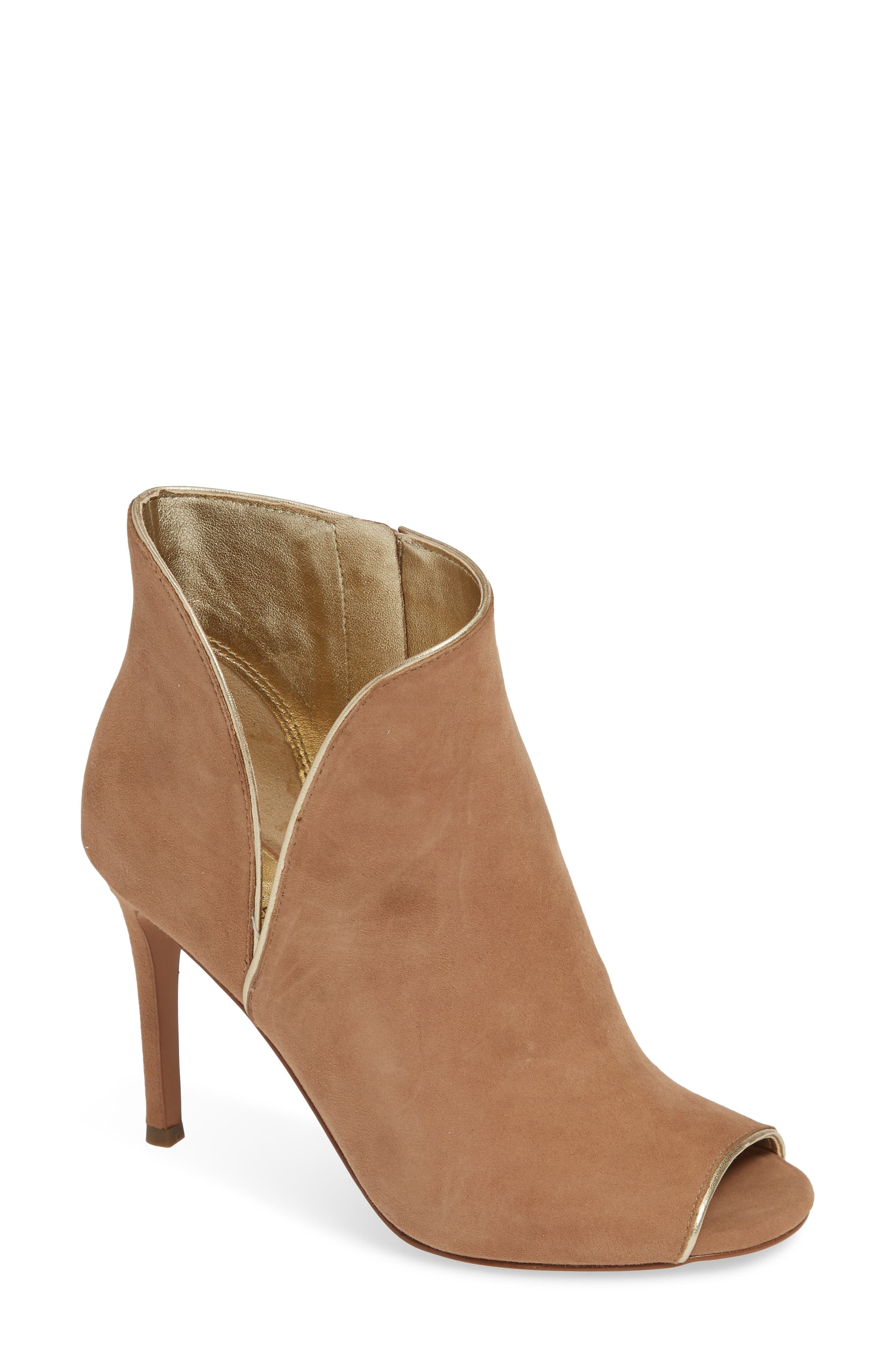Harper Open Toe Bootie in Dark Khaki Suede