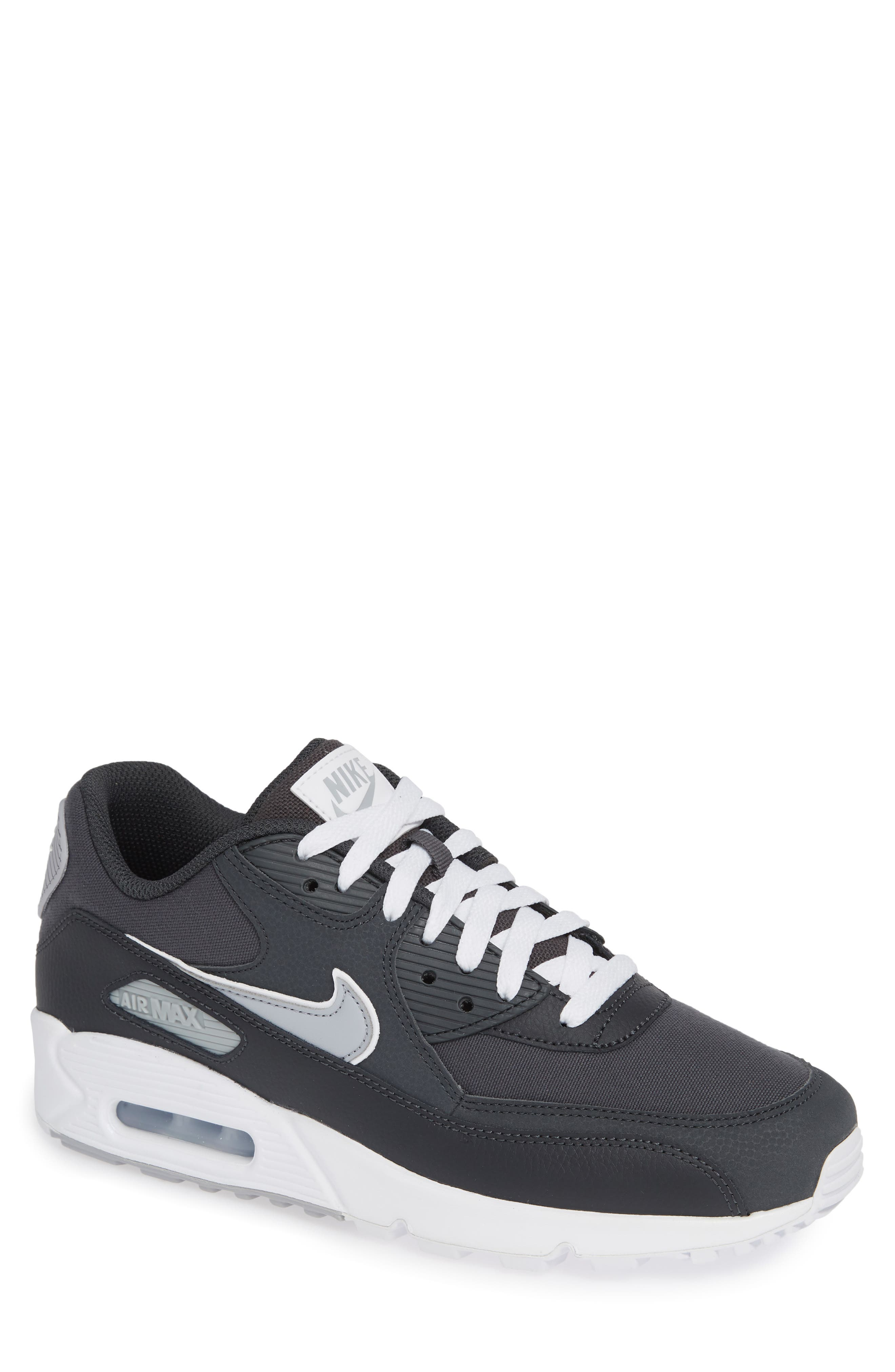 Air Max 90 Essential Sneaker,                         Main,                         color, ANTHRACITE/ WOLF GREY/ WHITE