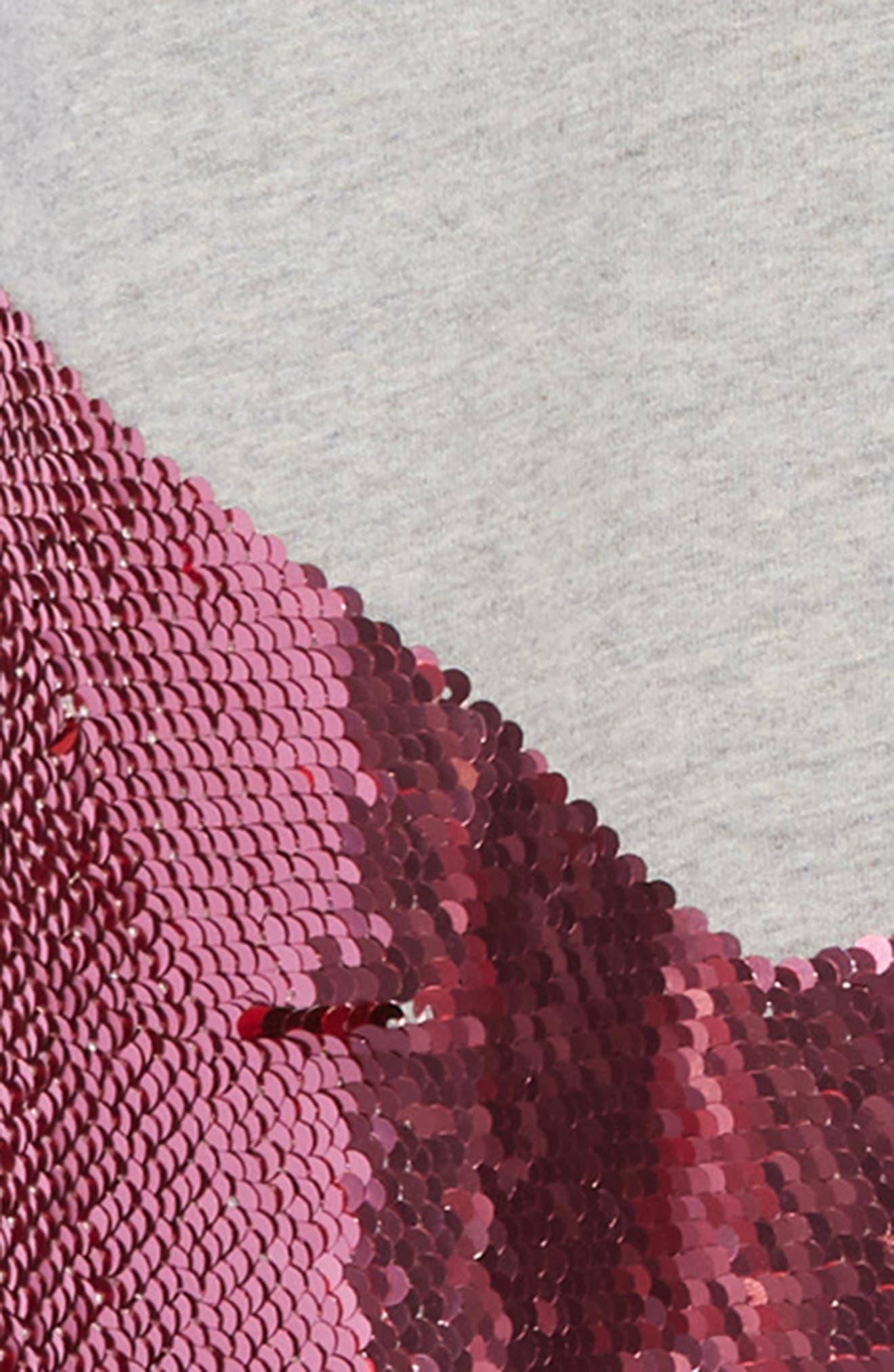 Shimmer Flip Sequin Star T-Shirt Dress,                             Alternate thumbnail 4, color,                             GRY GREY MARL/ RAINBOW SEQUINS