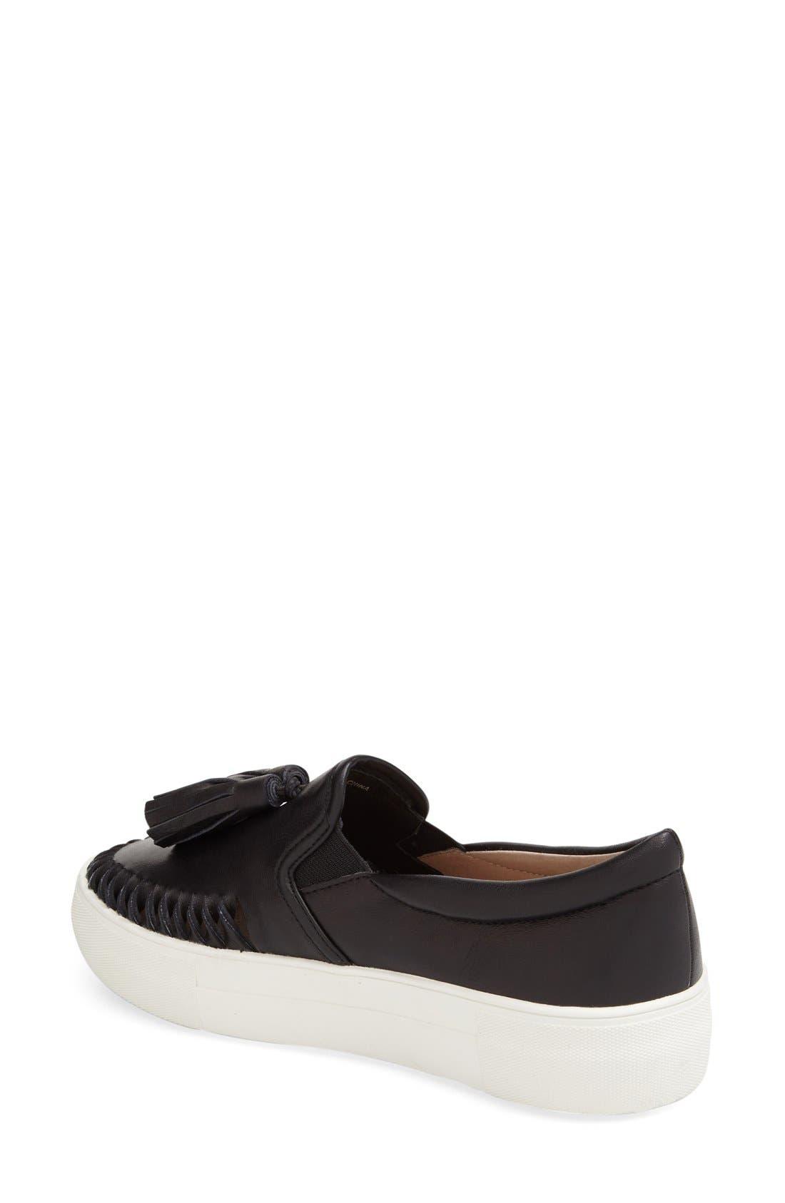 Tassel Slip-On Sneaker,                             Alternate thumbnail 2, color,                             BLACK LEATHER