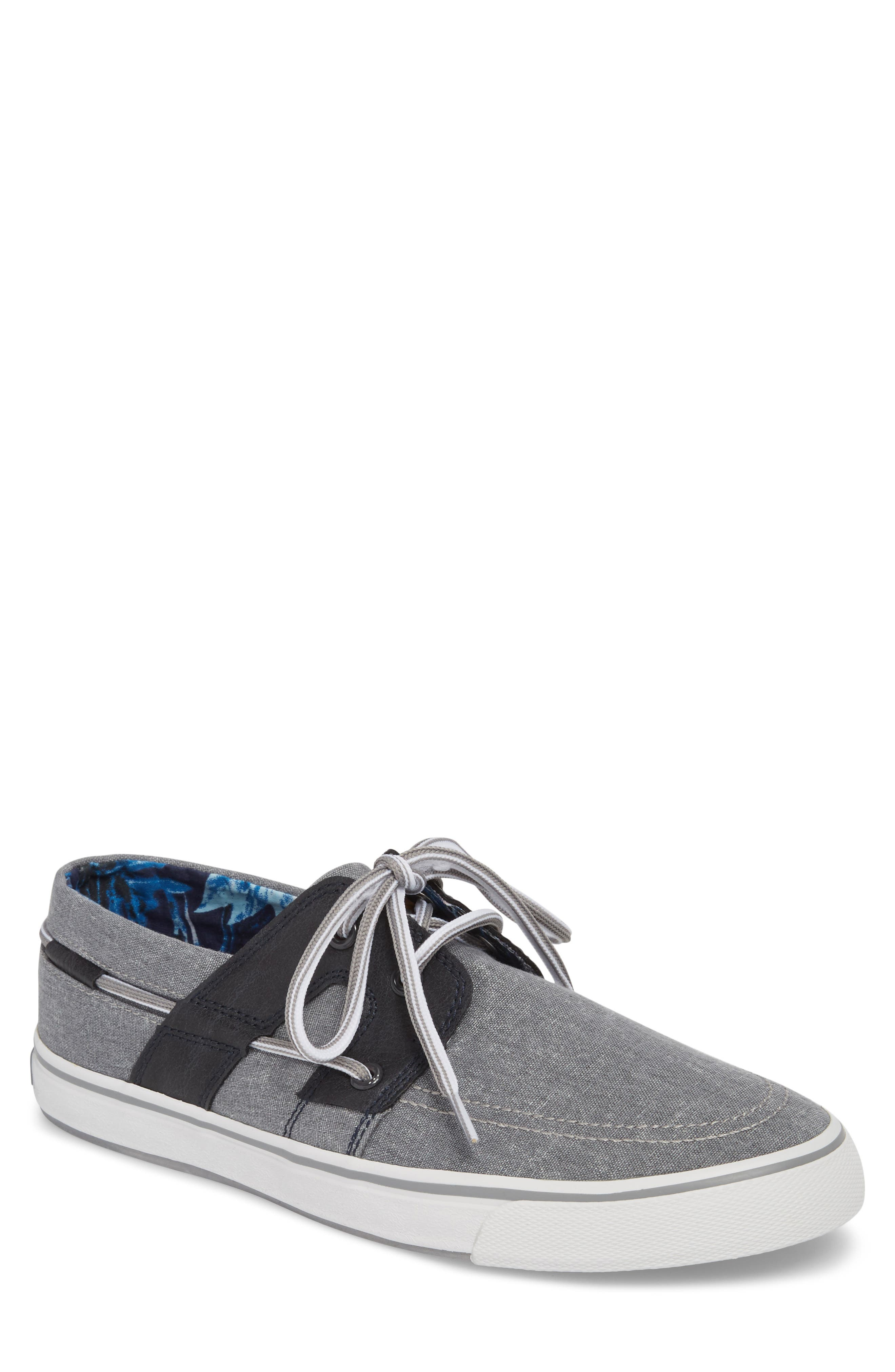 Stripe Breaker Sneaker,                             Main thumbnail 1, color,                             GREY/ BLACK LINEN/ LEATHER