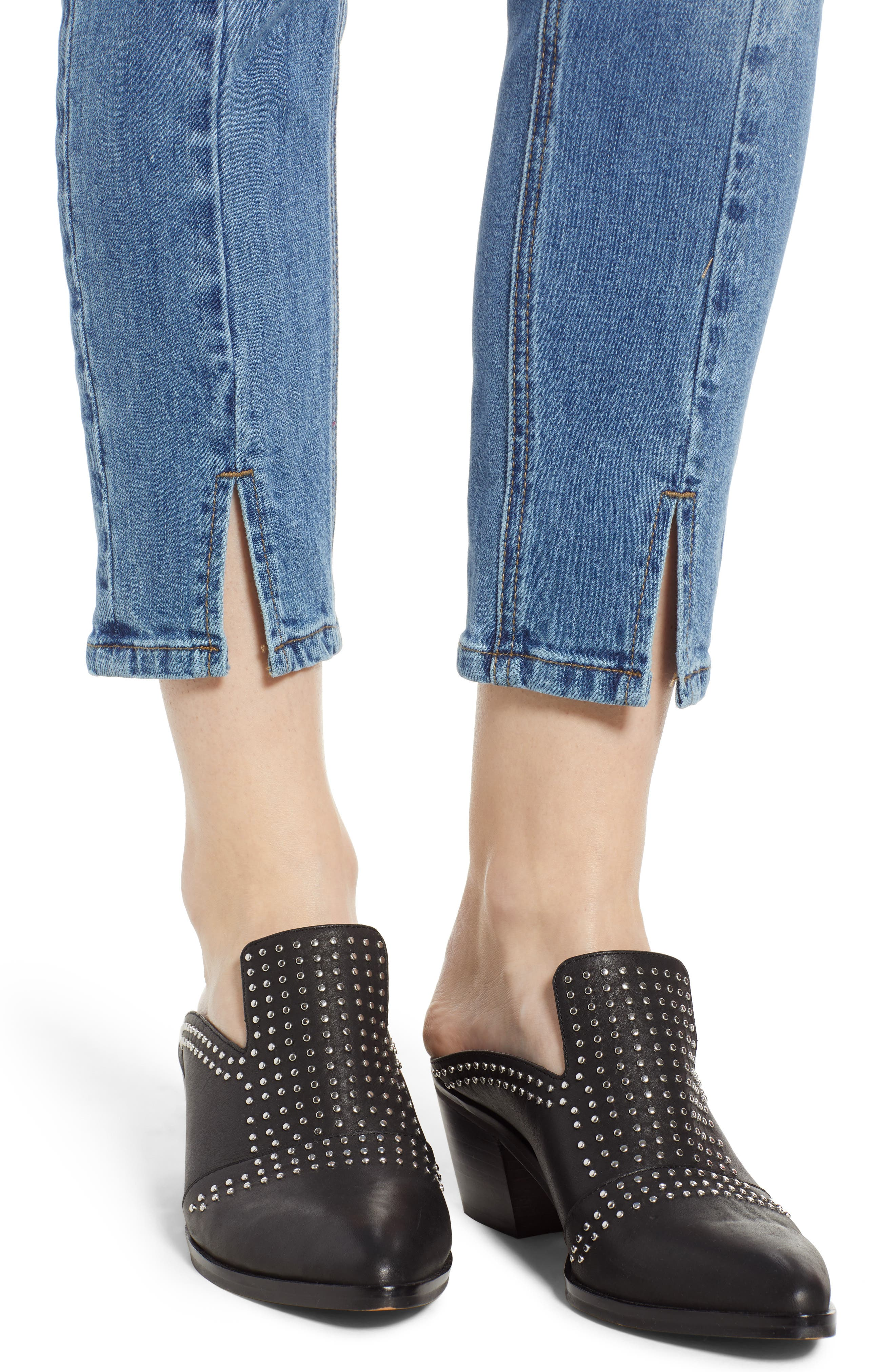High Waist Ankle Slit Skinny Jeans,                             Alternate thumbnail 4, color,