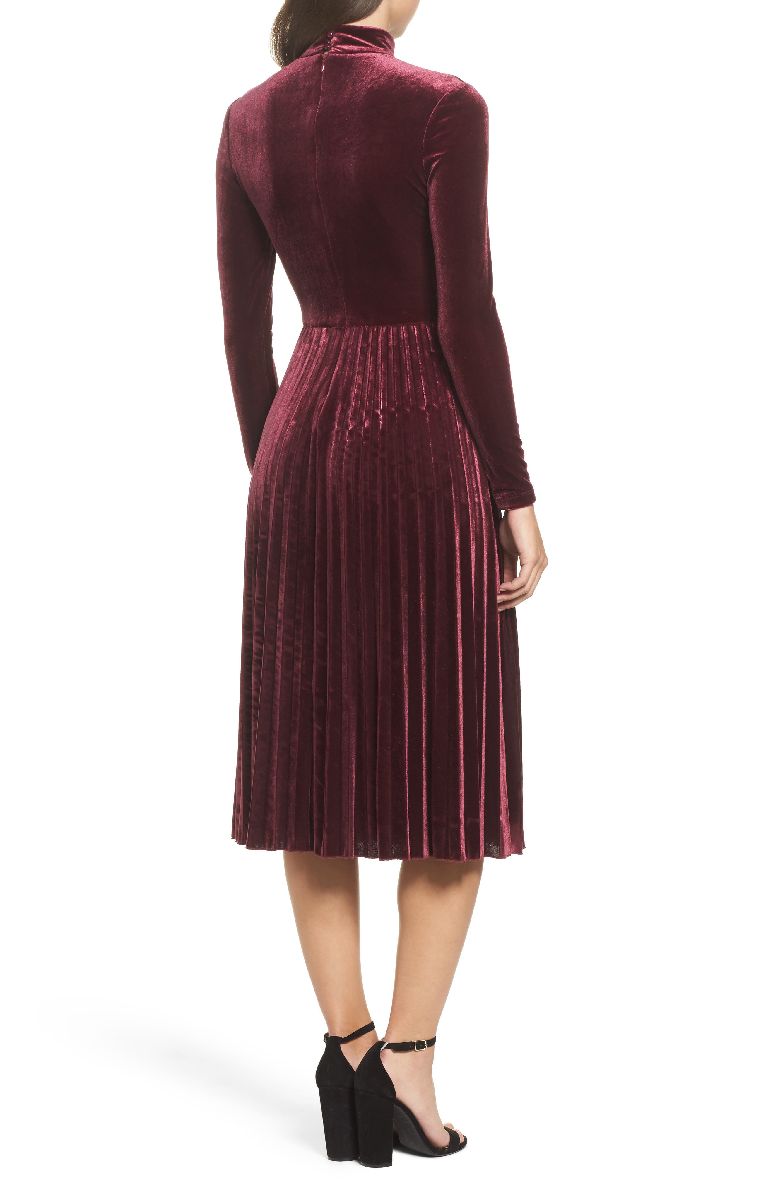Velvet Midi Dress,                             Alternate thumbnail 2, color,                             930