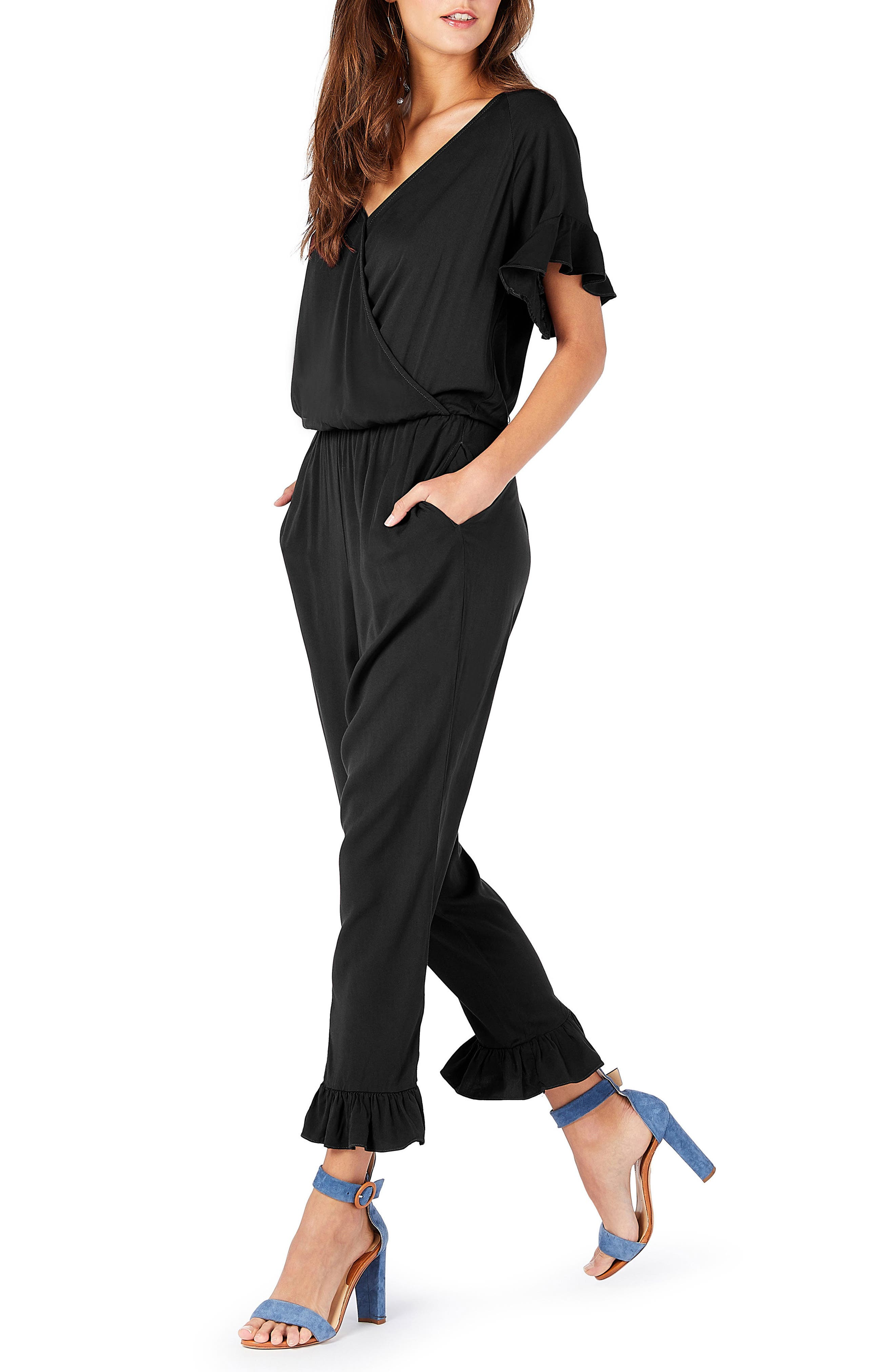 Ruffled Jumpsuit,                             Alternate thumbnail 3, color,                             001