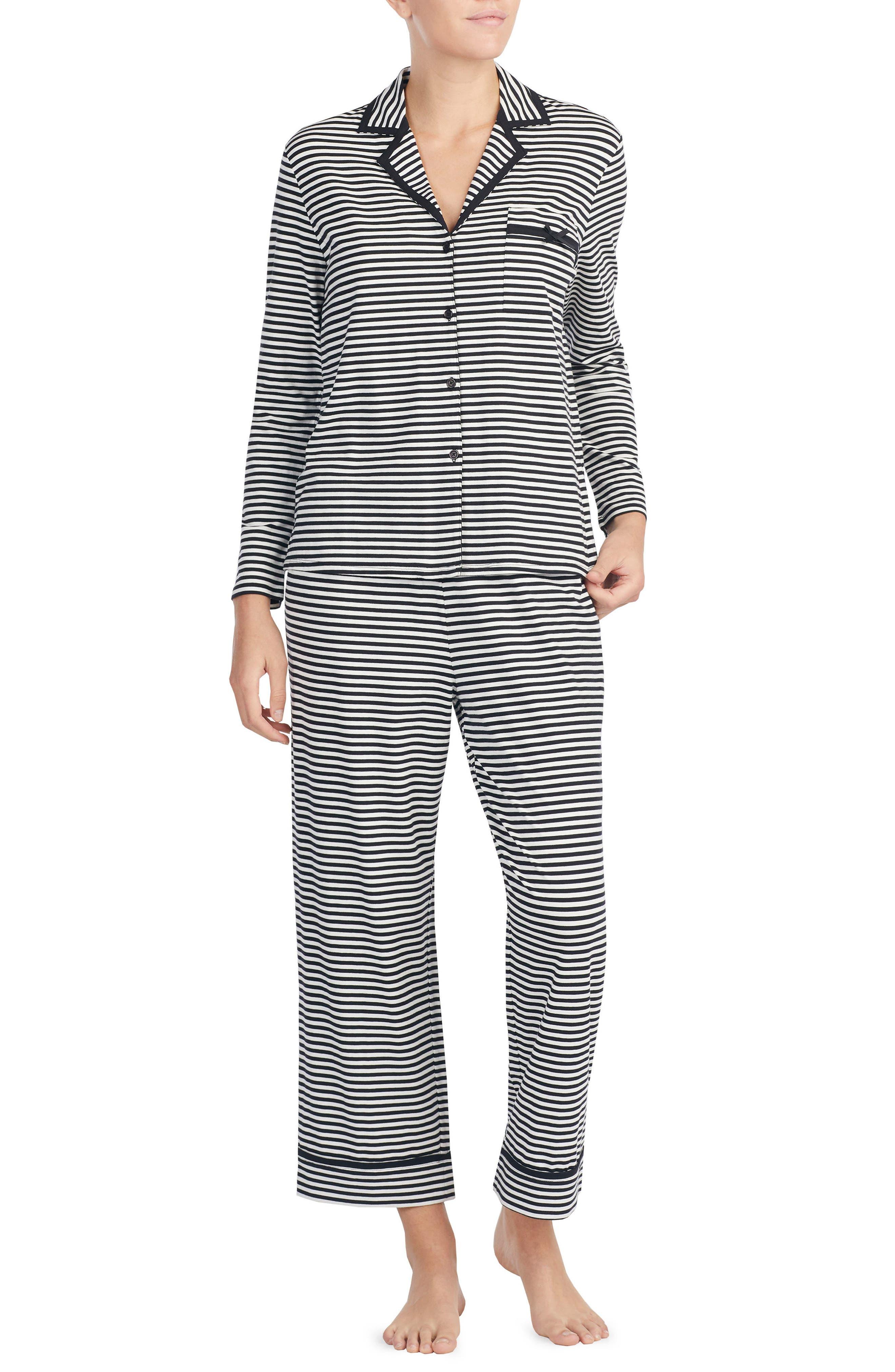 stripe crop jersey pajamas,                             Main thumbnail 1, color,                             010