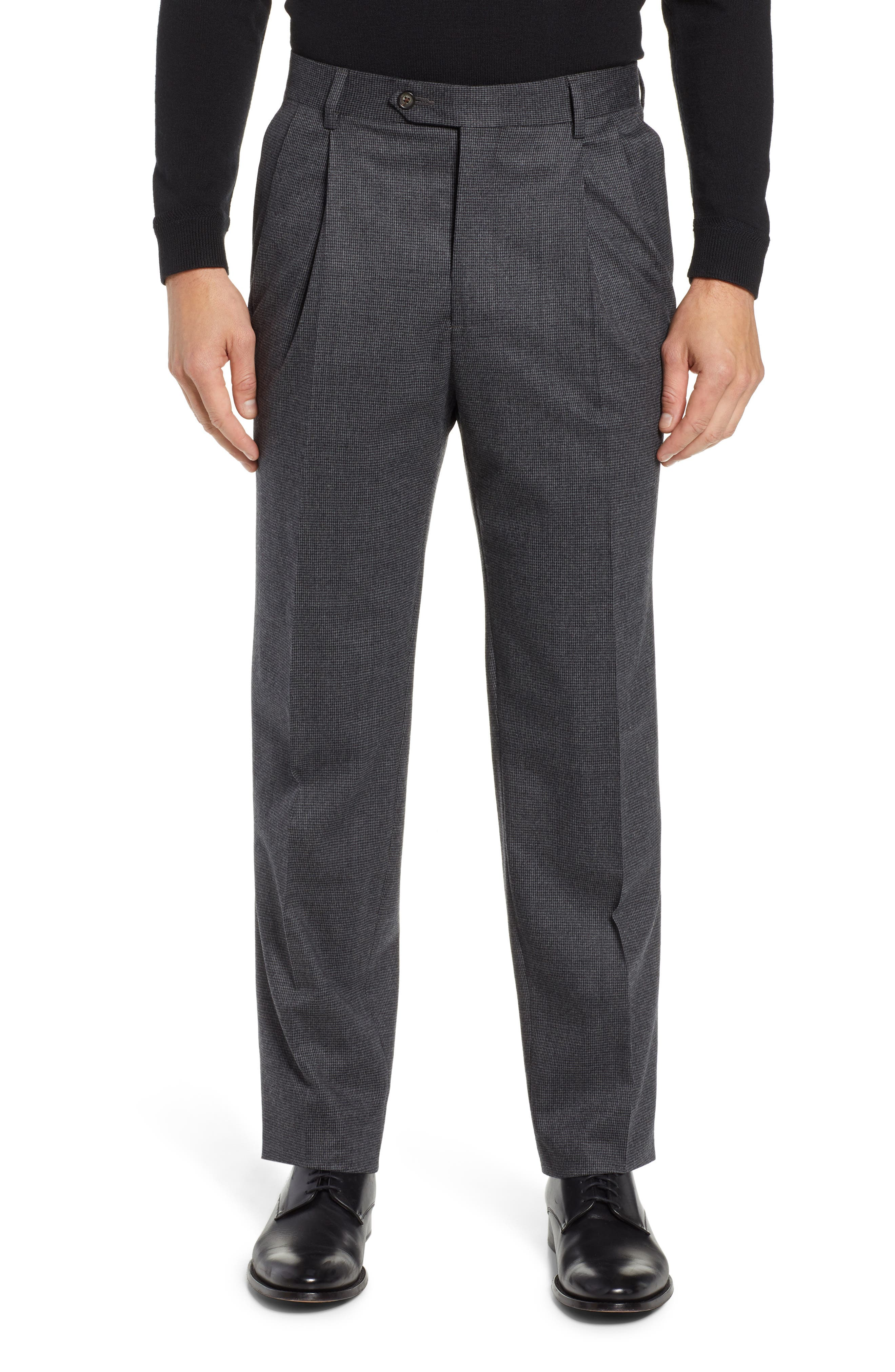 Pleated Stretch Houndstooth Wool Trousers,                         Main,                         color, GREY