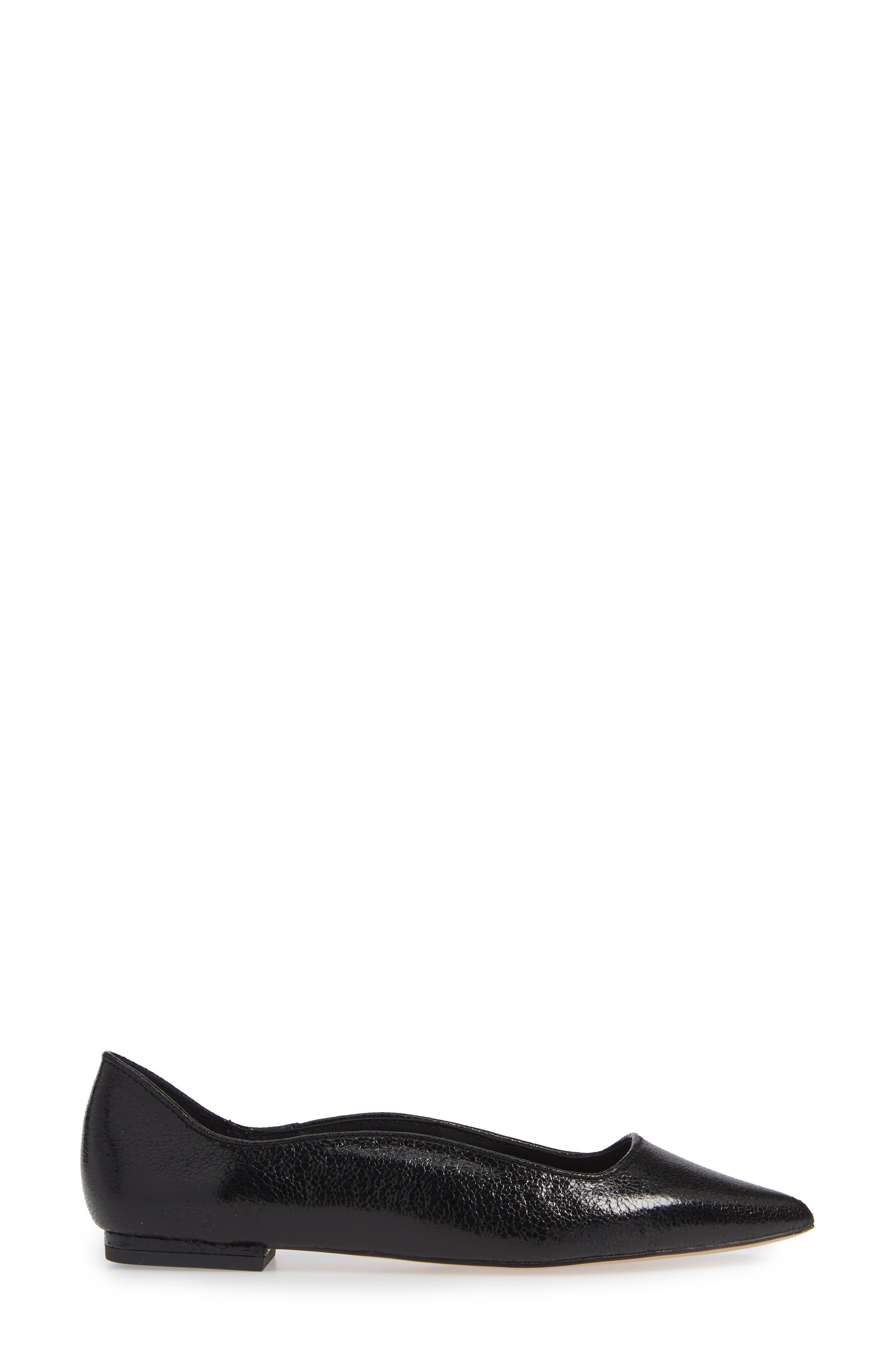 Nikita Pointy Toe Flat,                             Alternate thumbnail 3, color,                             BLACK