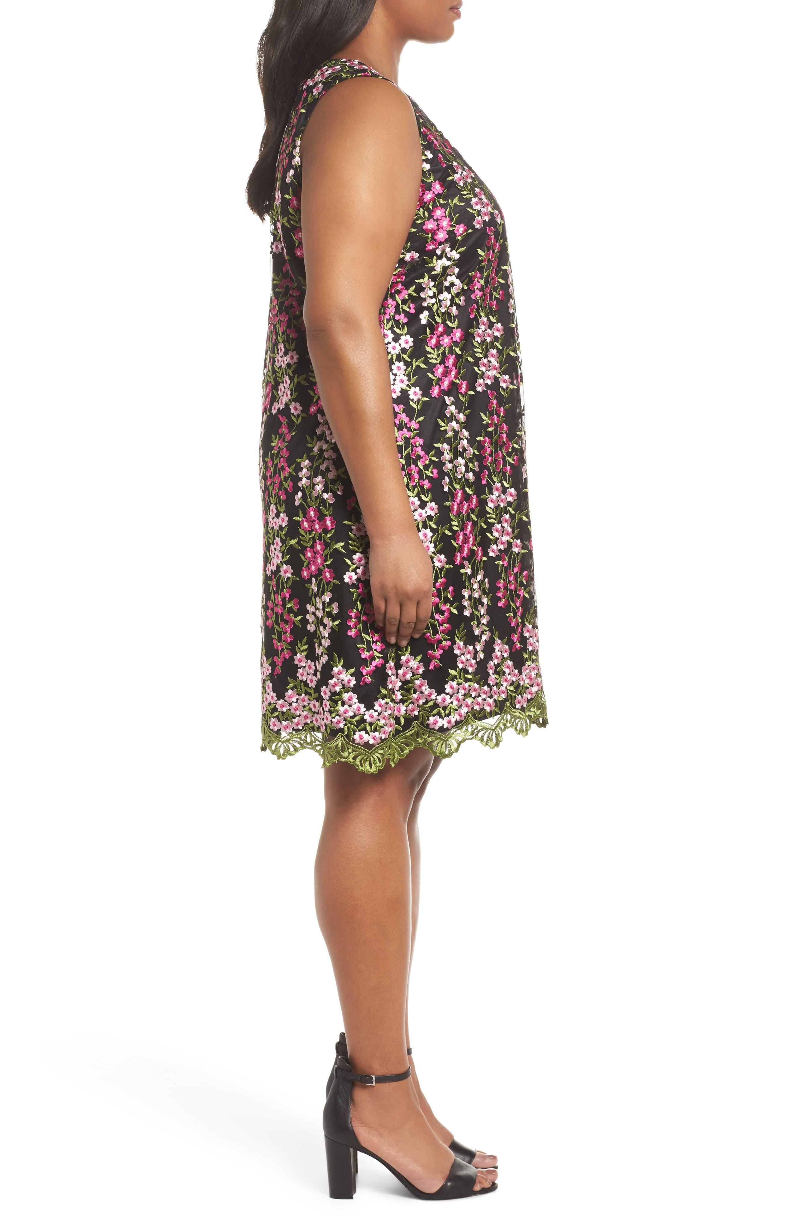 Embroidered Floral Shift Dress,                             Alternate thumbnail 3, color,                             001