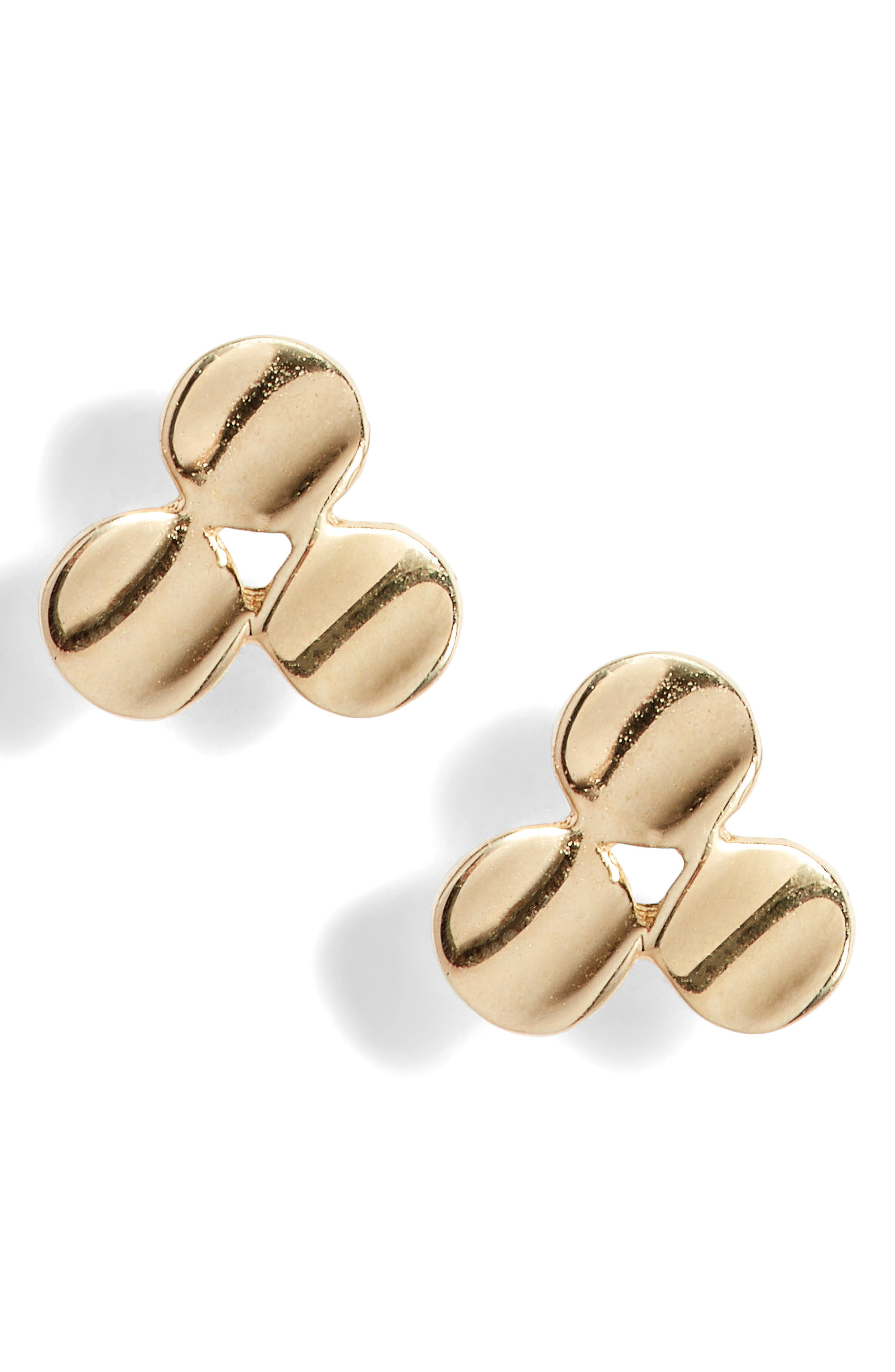 Clover Stud Earrings,                             Main thumbnail 1, color,                             YELLOW GOLD