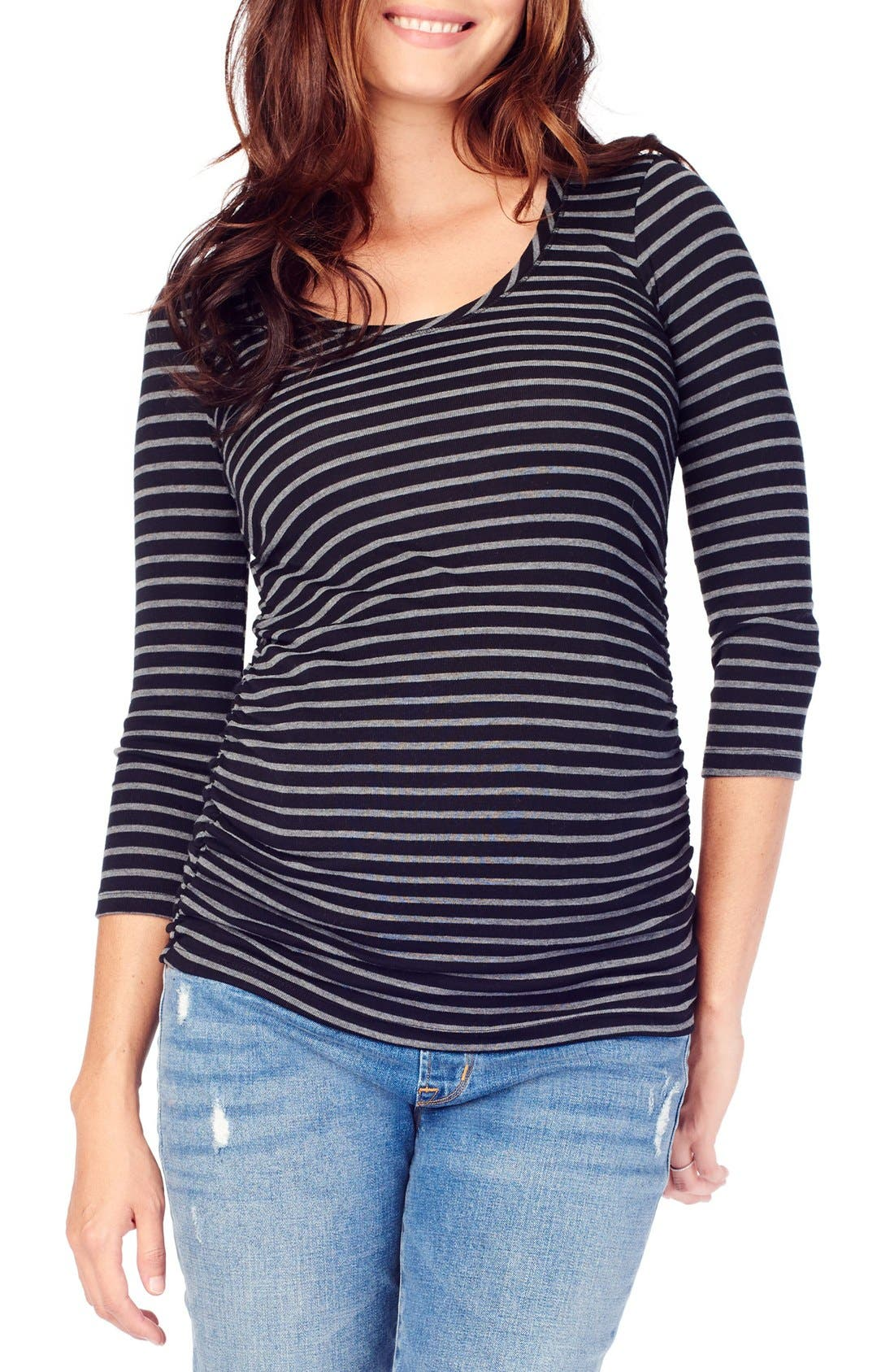 INGRID & ISABEL<SUP>®</SUP> Stripe Ruched Maternity Top, Main, color, 004