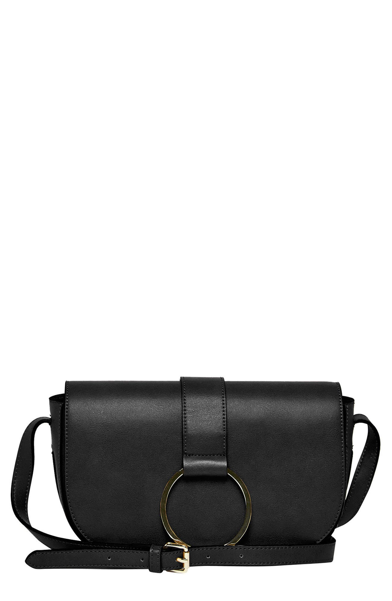 Lola Vegan Leather Crossbody Saddle Bag,                         Main,                         color, 001