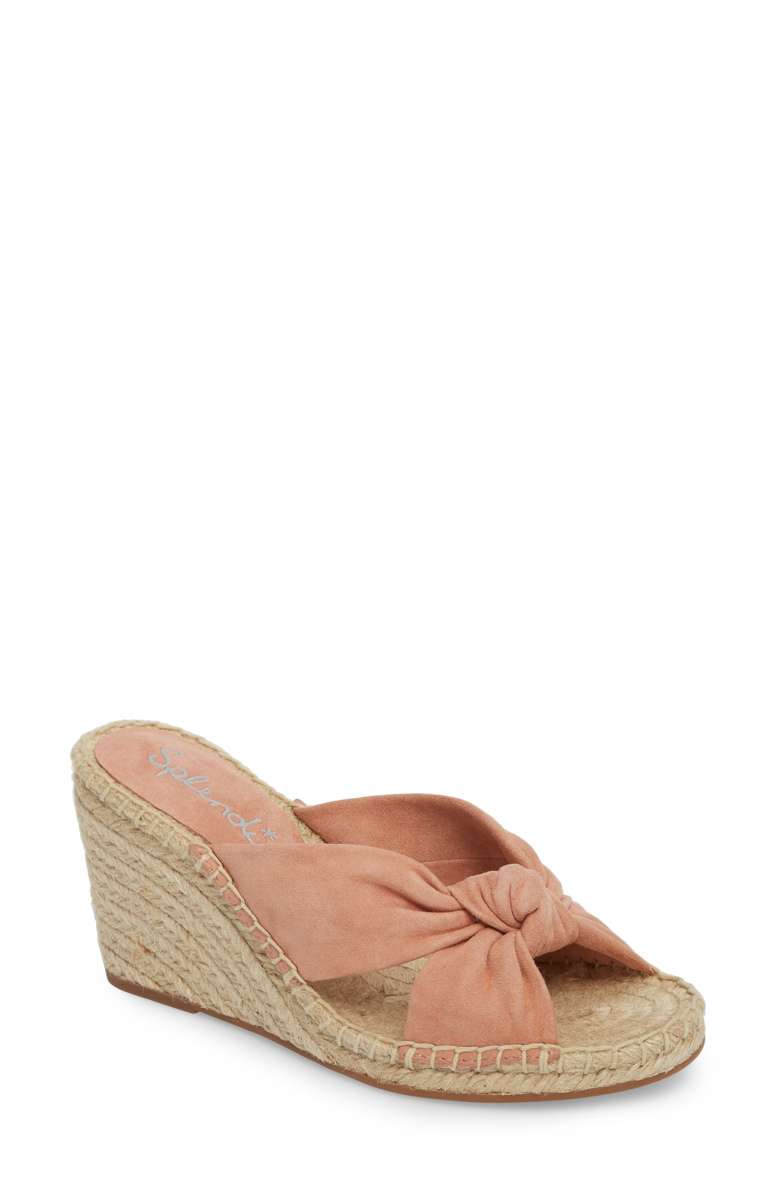 Bautista Knotted Wedge Sandal,                             Main thumbnail 1, color,                             DARK BLUSH SUEDE