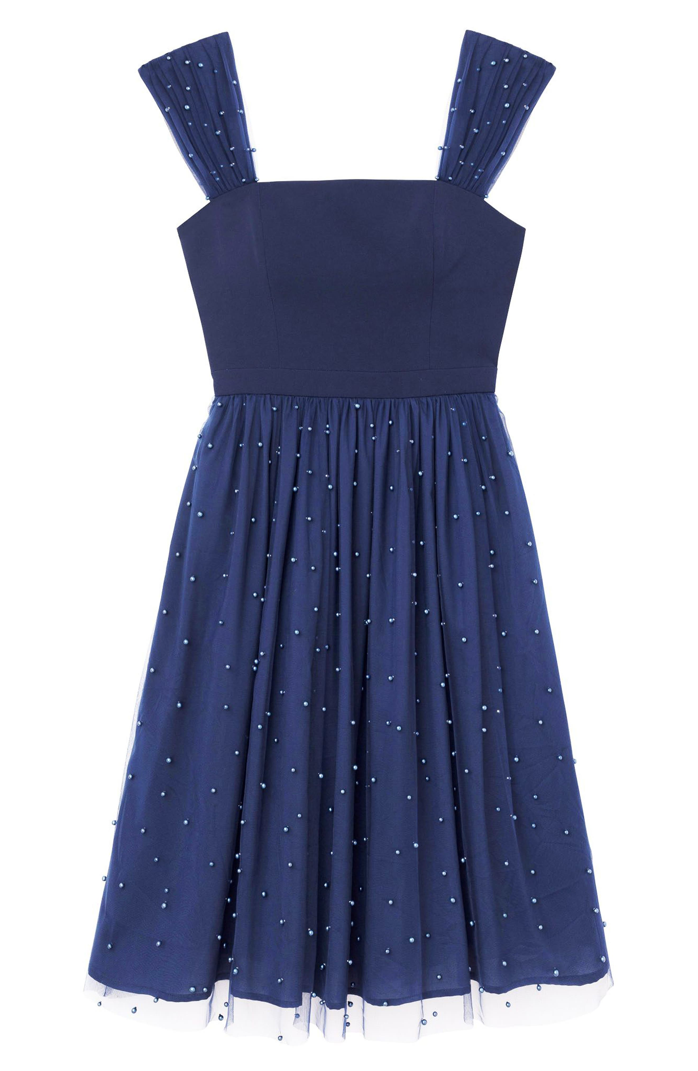 GAL MEETS GLAM COLLECTION,                             Delores Vintage Pearl Mesh & Crepe Dress,                             Alternate thumbnail 6, color,                             NAVY