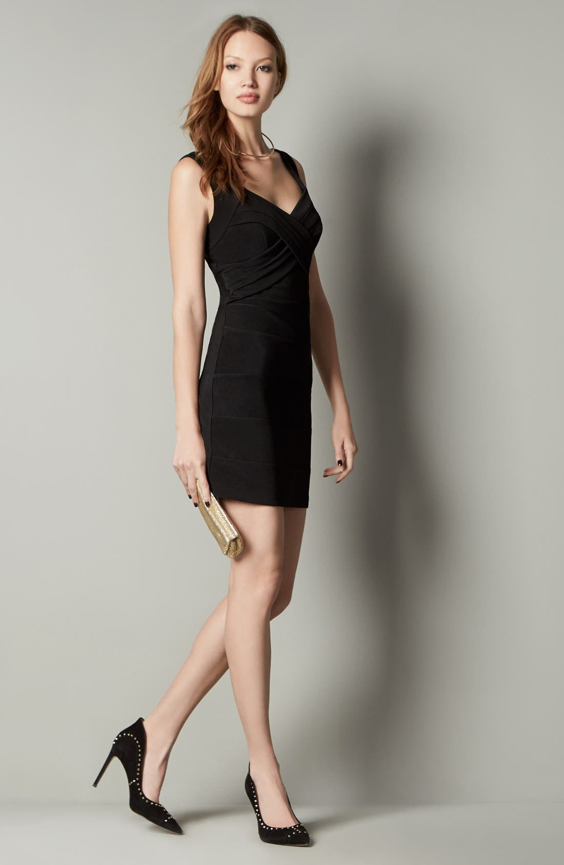 LOVE, NICKIE LEW,                             Cross Front Body-Con Dress,                             Alternate thumbnail 3, color,                             001