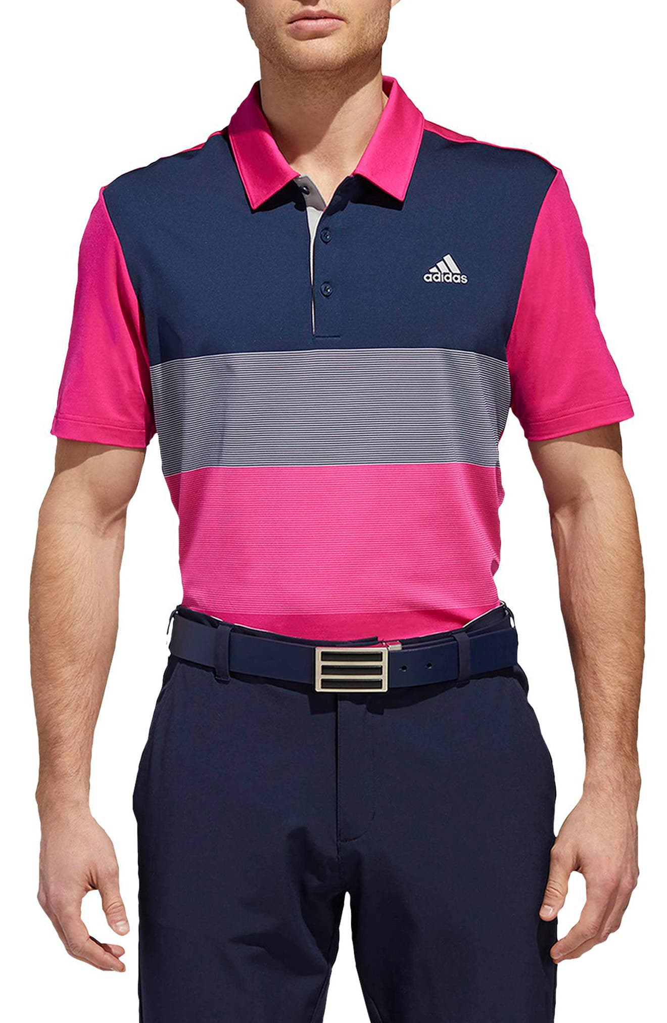 adidas Ultimate Colorblock Regular Fit Polo Shirt,                             Main thumbnail 1, color,                             677