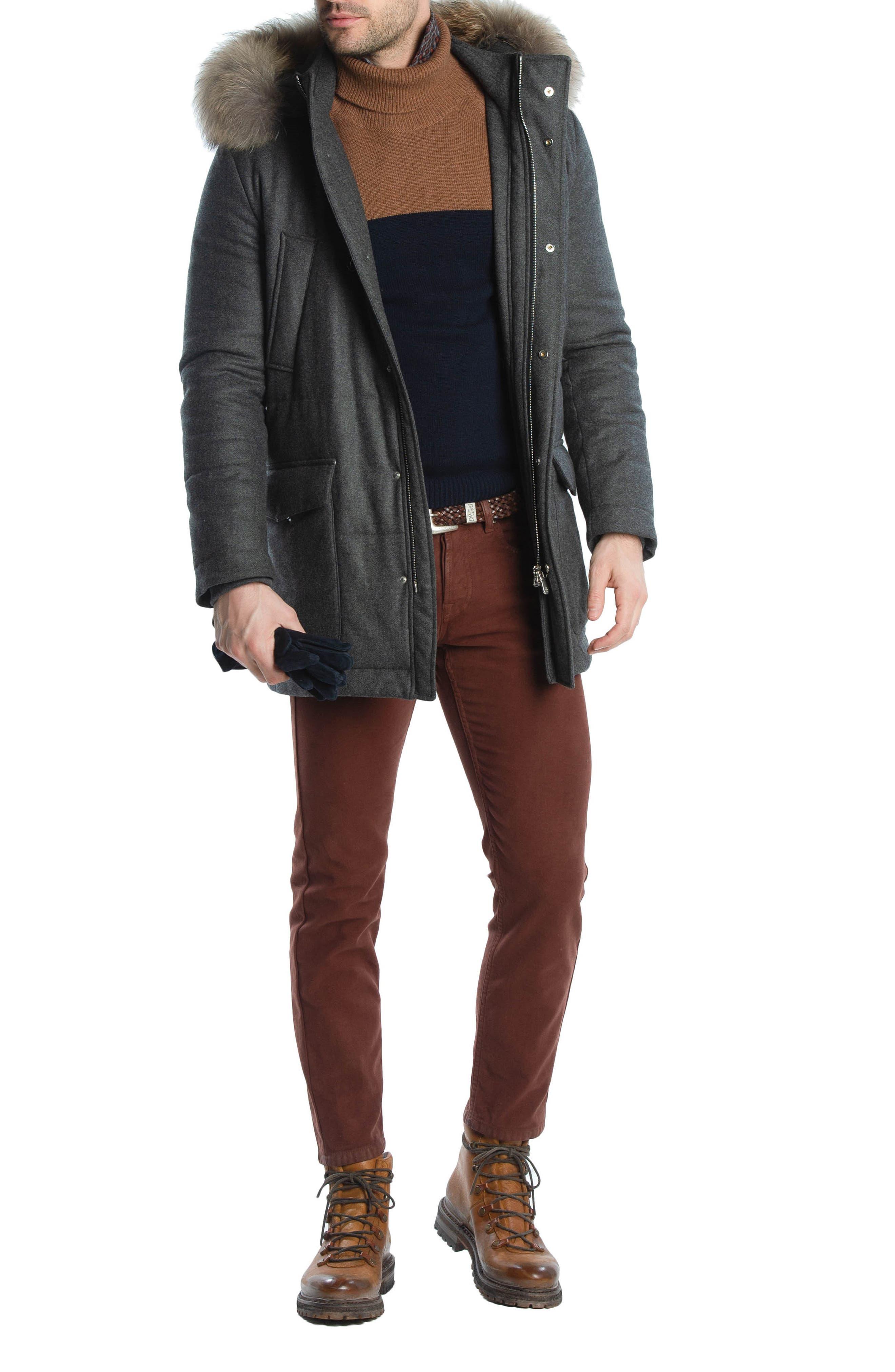 Slim Fit Stretch Cotton Five Pocket Trousers,                             Alternate thumbnail 7, color,                             OCHRE