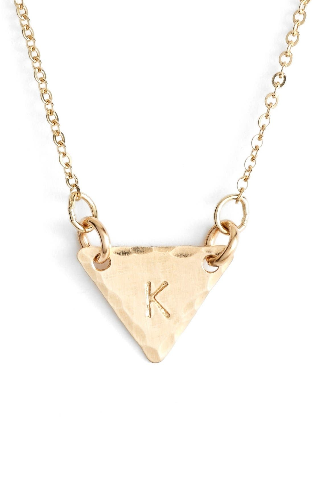 14k-Gold Fill Initial Triangle Necklace,                             Main thumbnail 11, color,