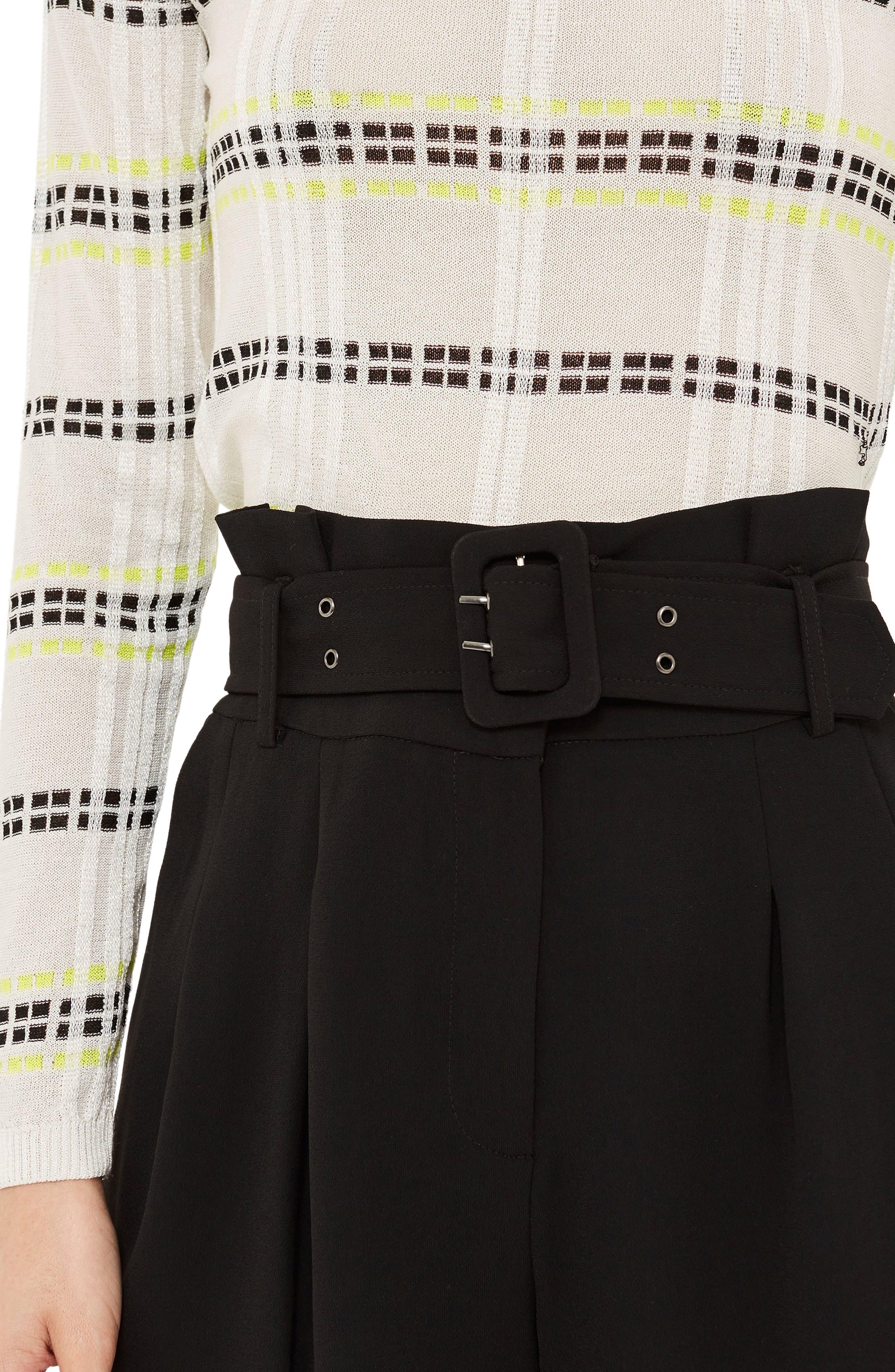 Ayla Belted Eyelet Trouser,                             Alternate thumbnail 3, color,                             BLACK