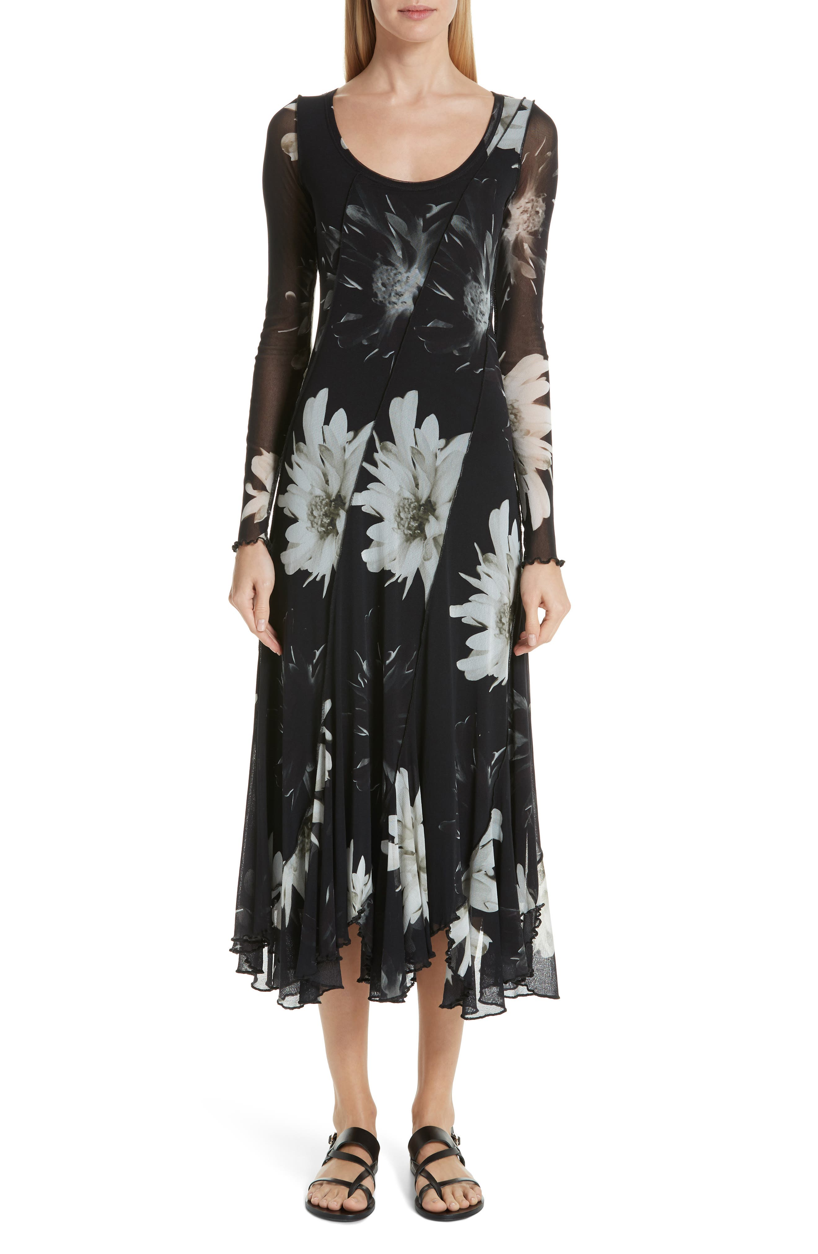 Fuzzi Floral Tulle Maxi Dress, Black