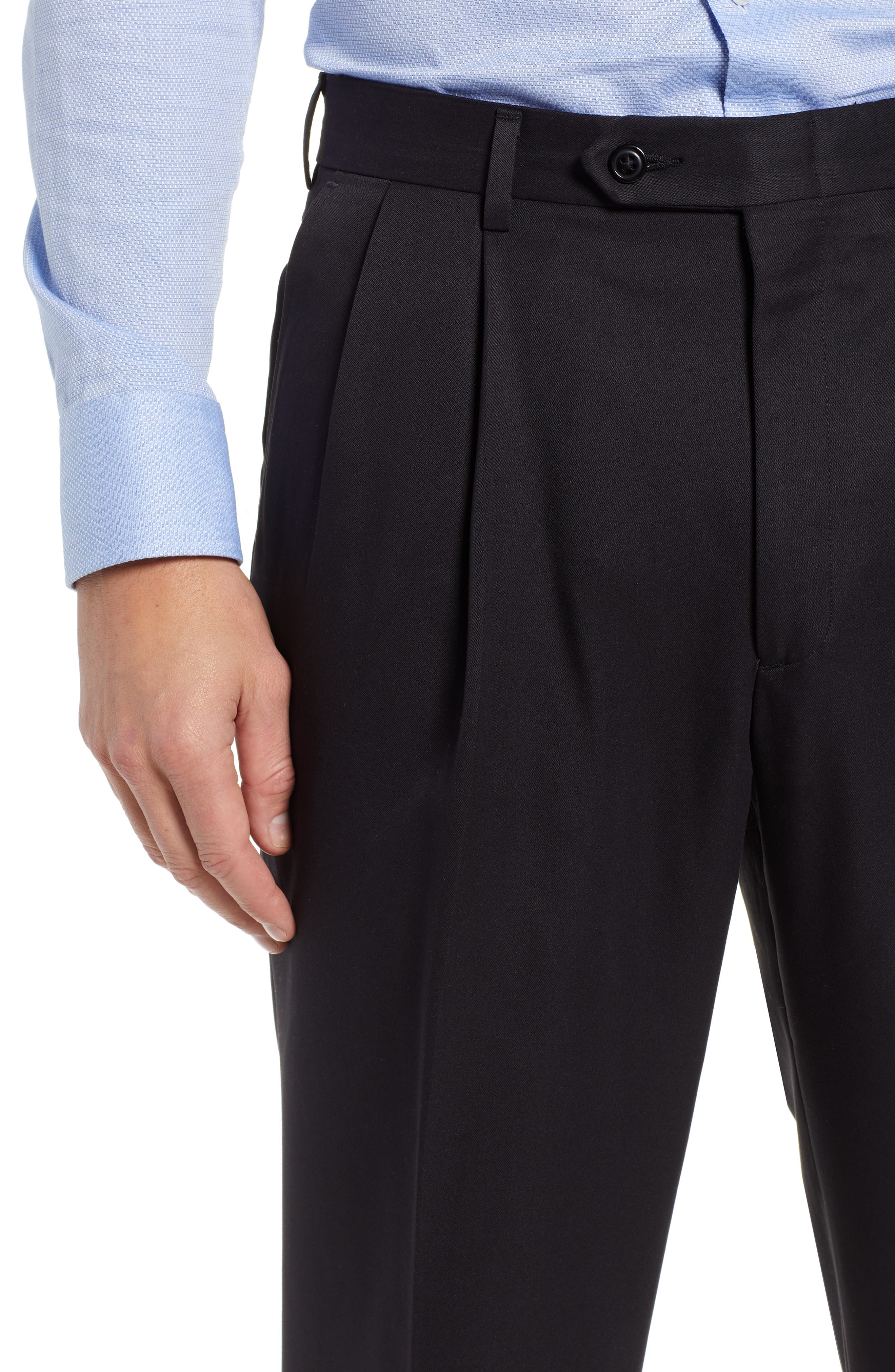 Classic Fit Pleated Microfiber Performance Trousers,                             Alternate thumbnail 4, color,                             BLACK