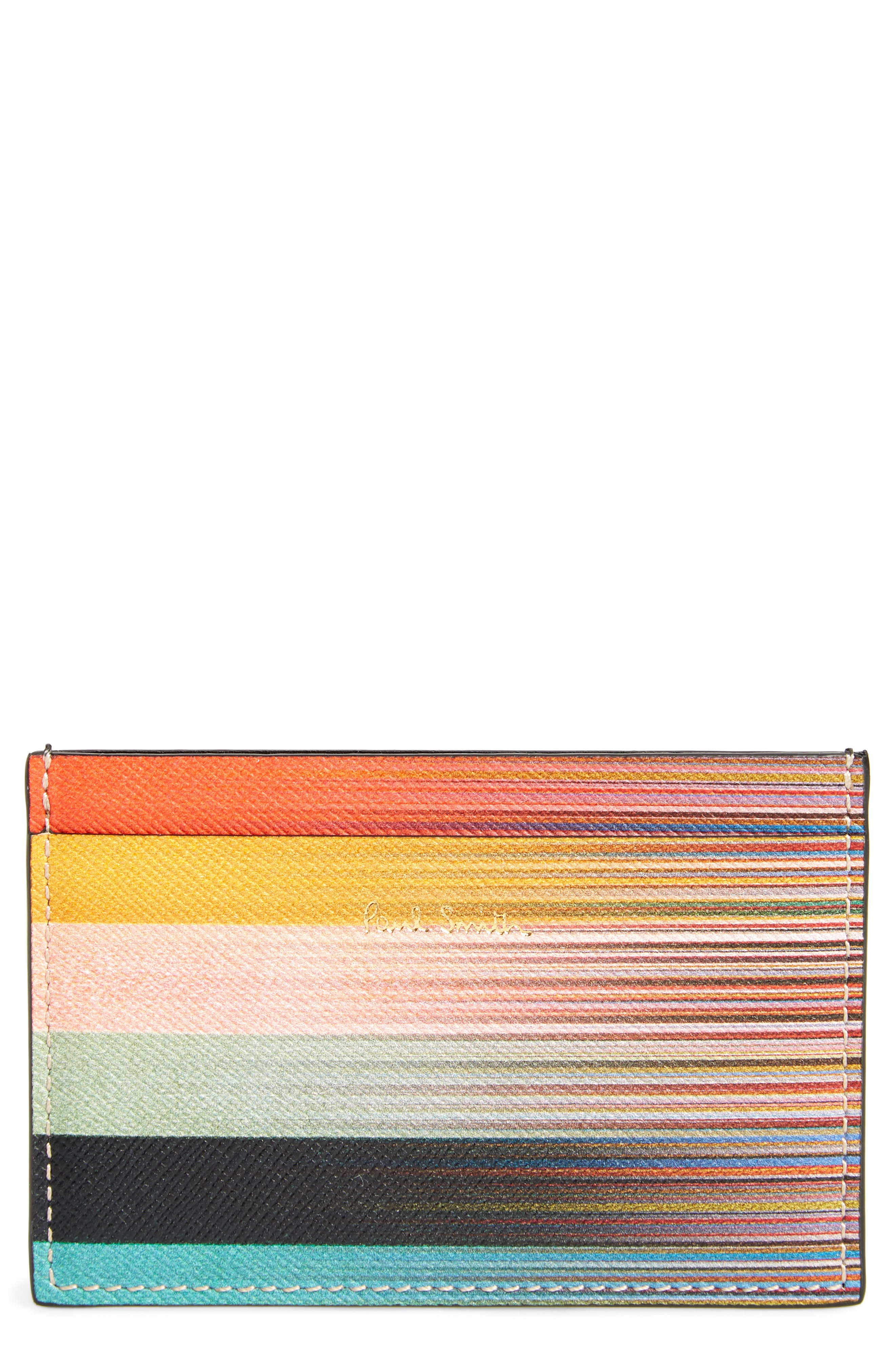 Artist Stripe Leather Card Case,                         Main,                         color, 001
