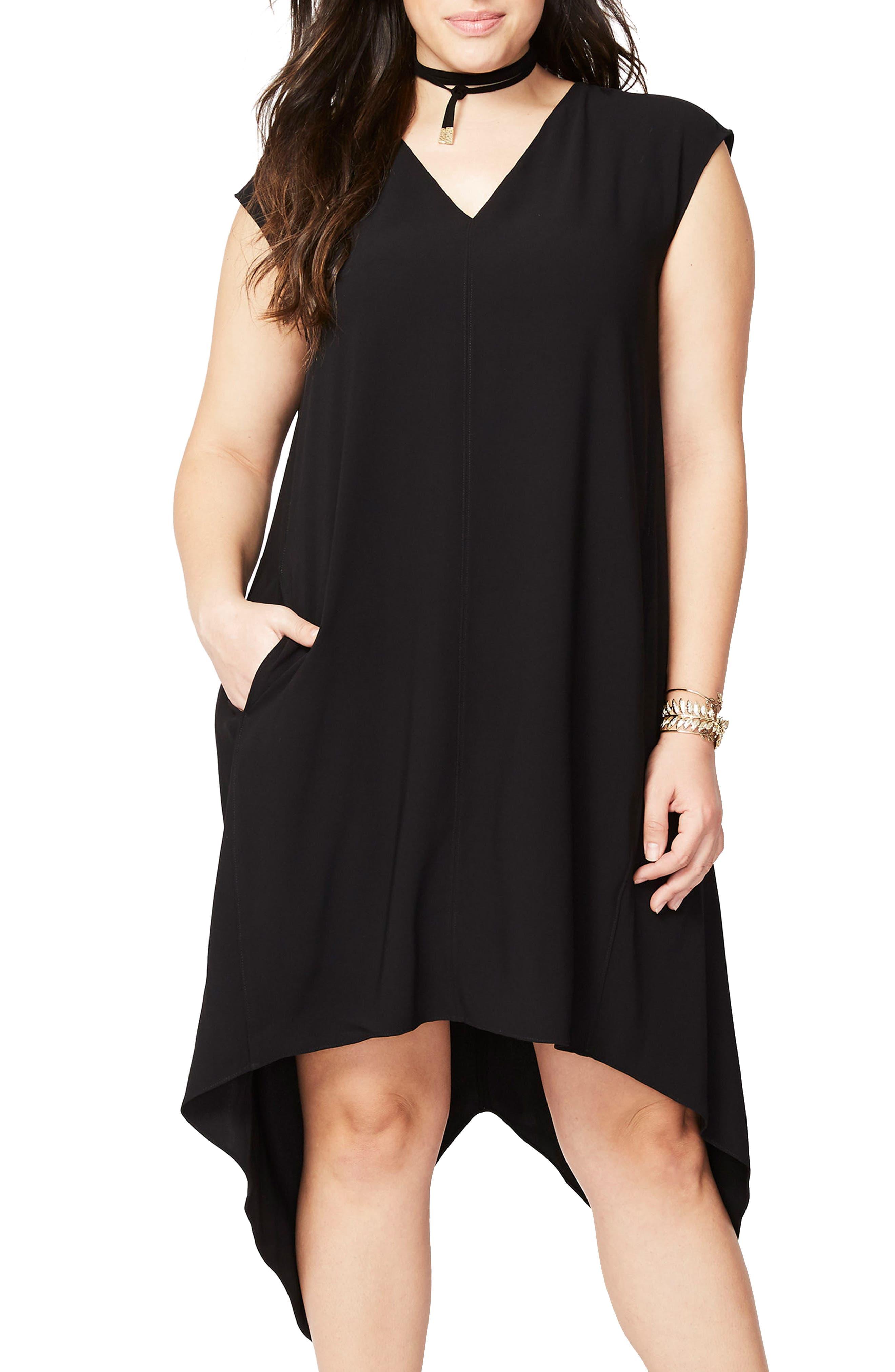 Sydney High/Low Dress,                             Main thumbnail 1, color,                             BLACK