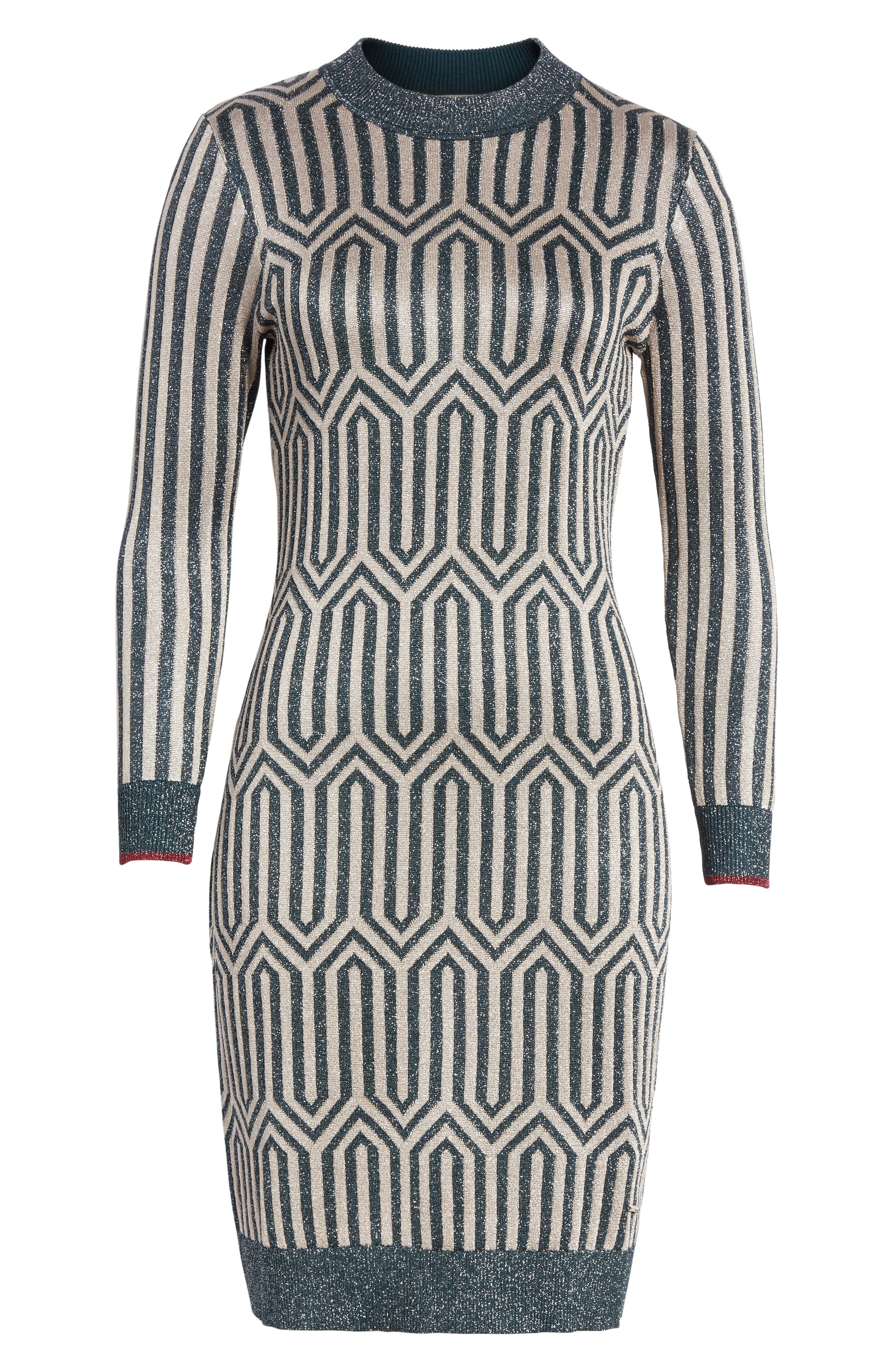 Metallic Knit Dress,                             Alternate thumbnail 6, color,                             440