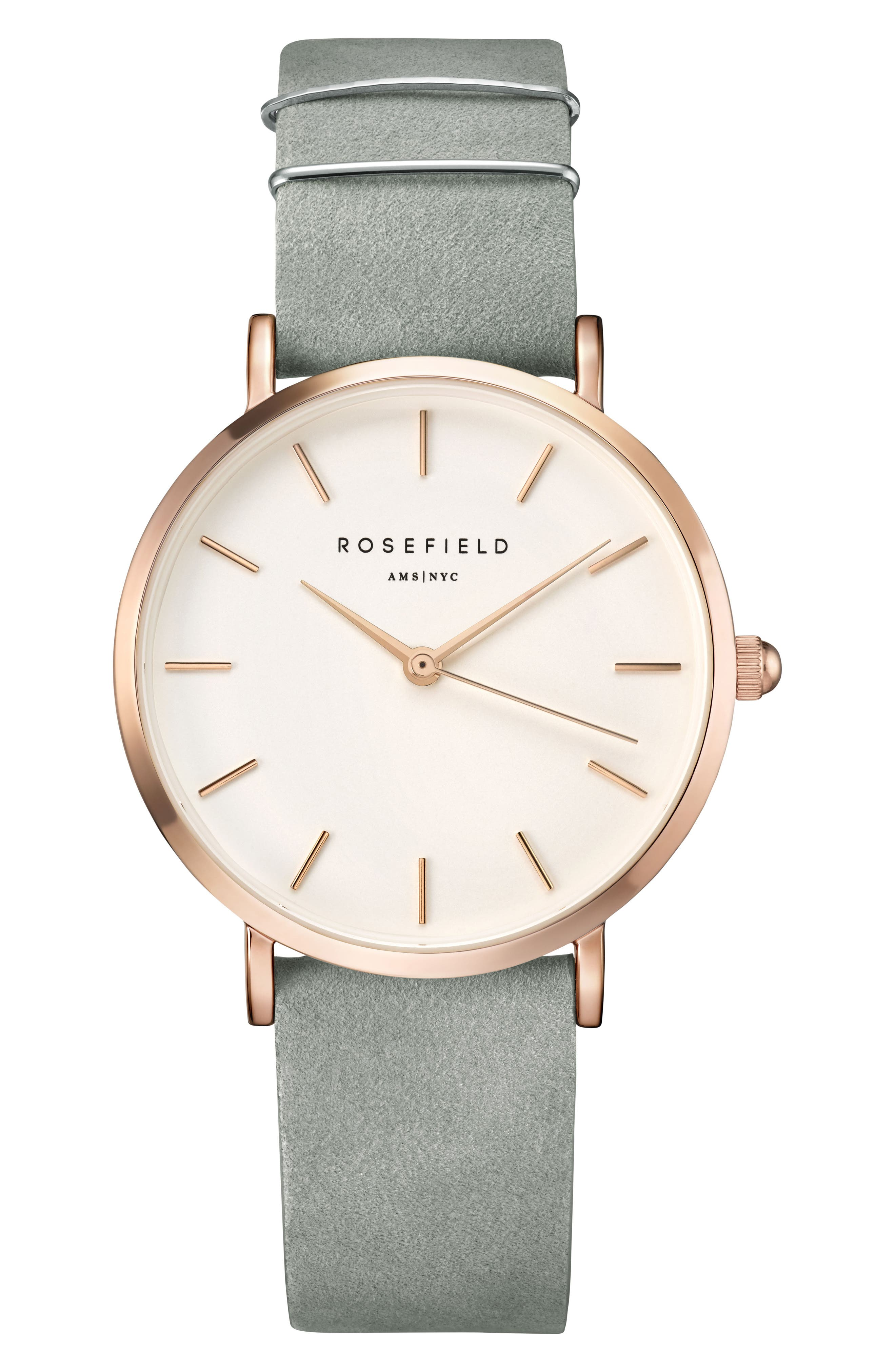 West Village Leather Strap Watch, 33mm,                         Main,                         color, MINT GREY/ WHITE/ ROSE GOLD