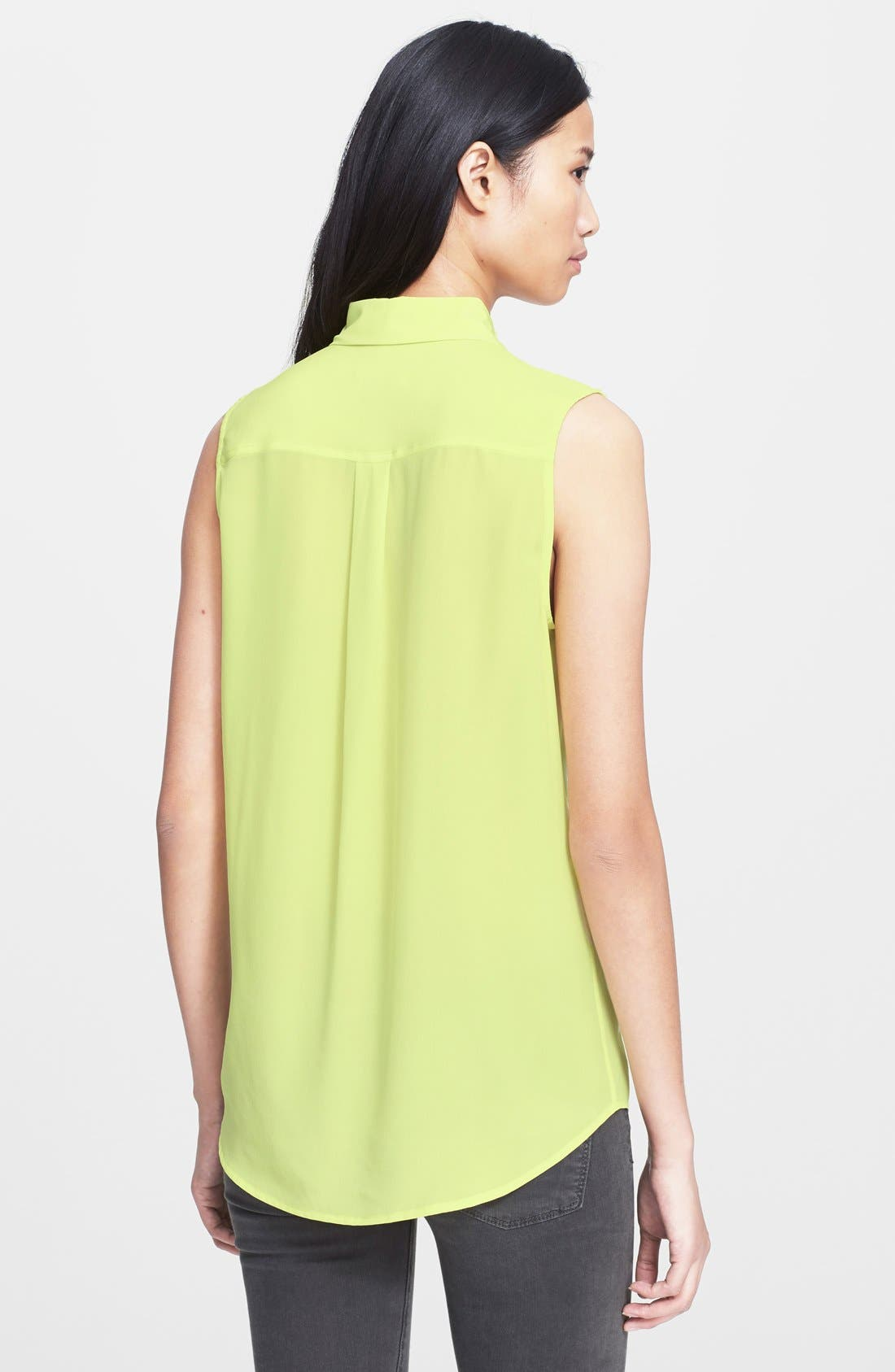 'Slim Signature' Sleeveless Silk Shirt,                             Alternate thumbnail 63, color,