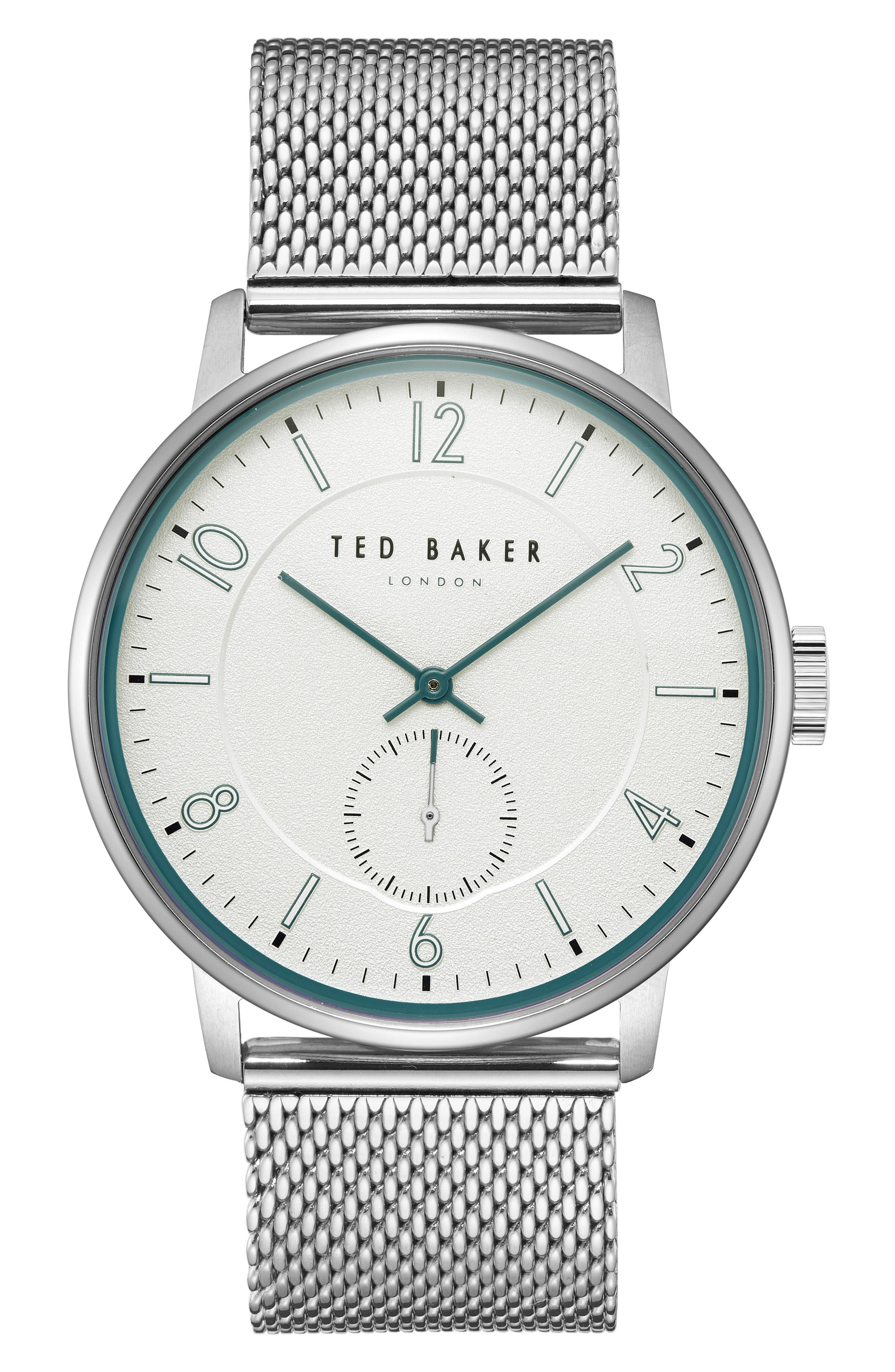 TED BAKER LONDON Owen Mesh Strap Watch, 42mm, Main, color, WHITE/ STAINLESS STEEL