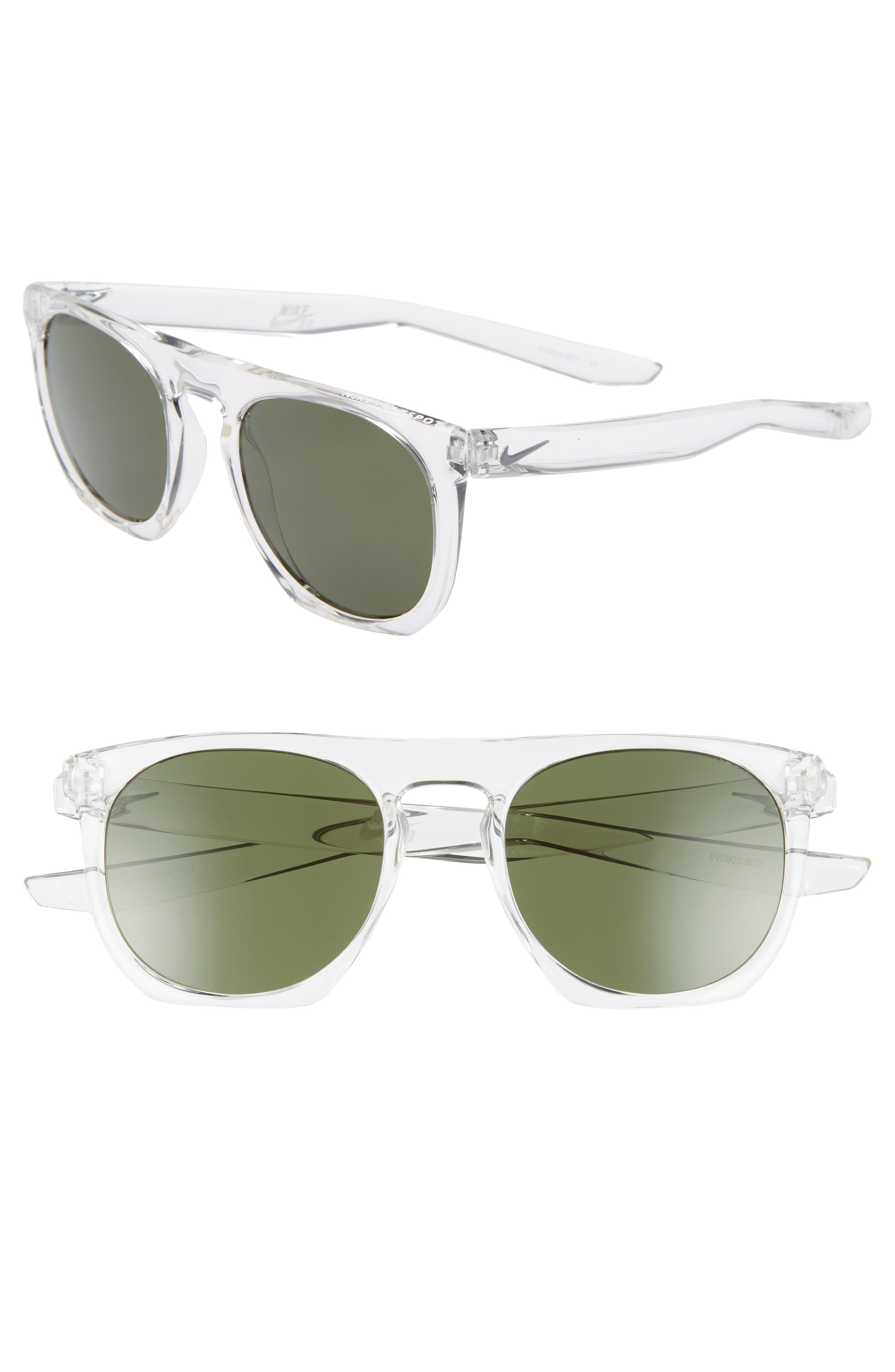 Nike Flatspot 52Mm Flat Top Sunglasses - Clear/ Green