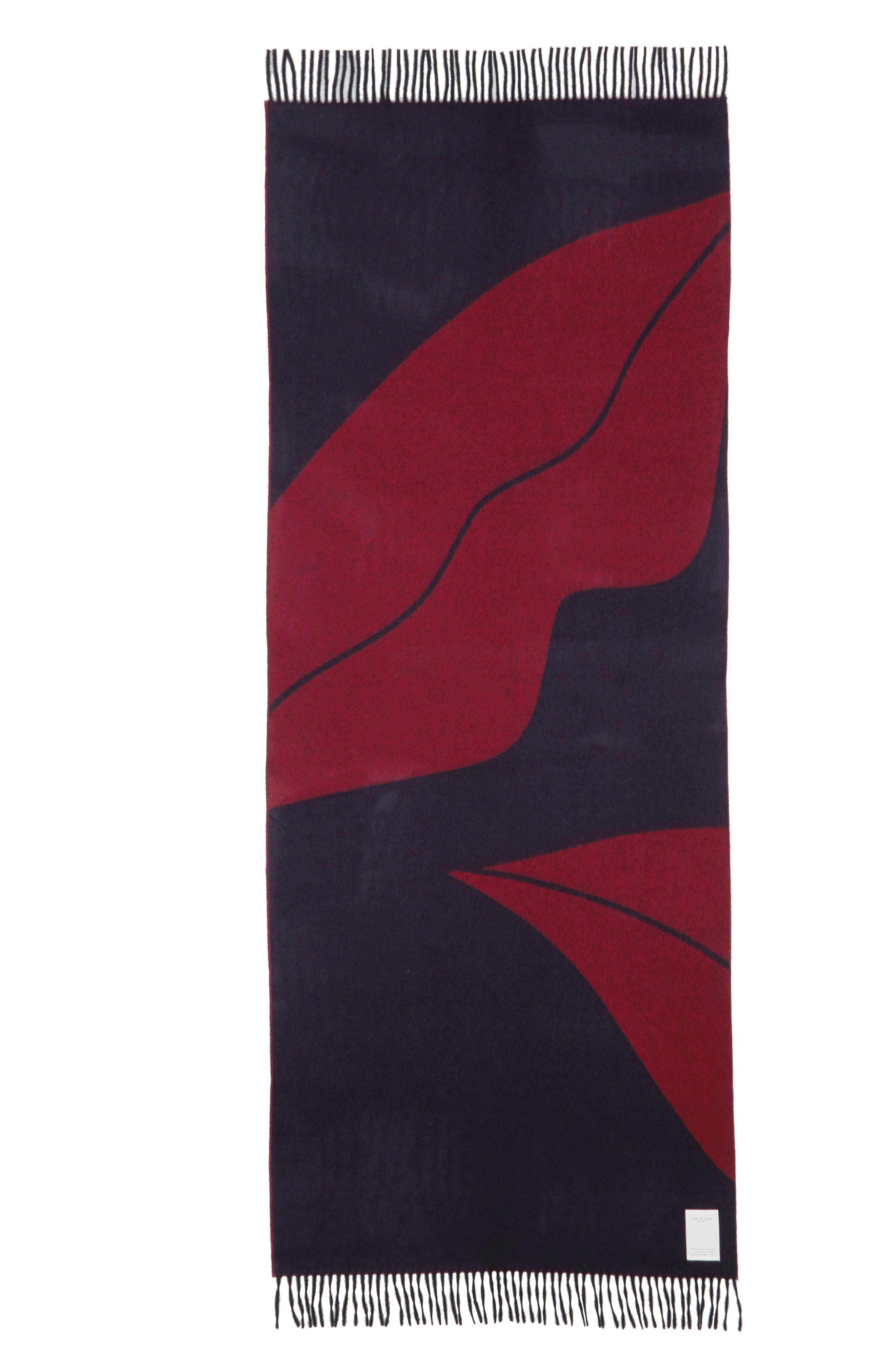 Graphic Wool Scarf,                             Alternate thumbnail 3, color,                             DARK BLUE MULTI
