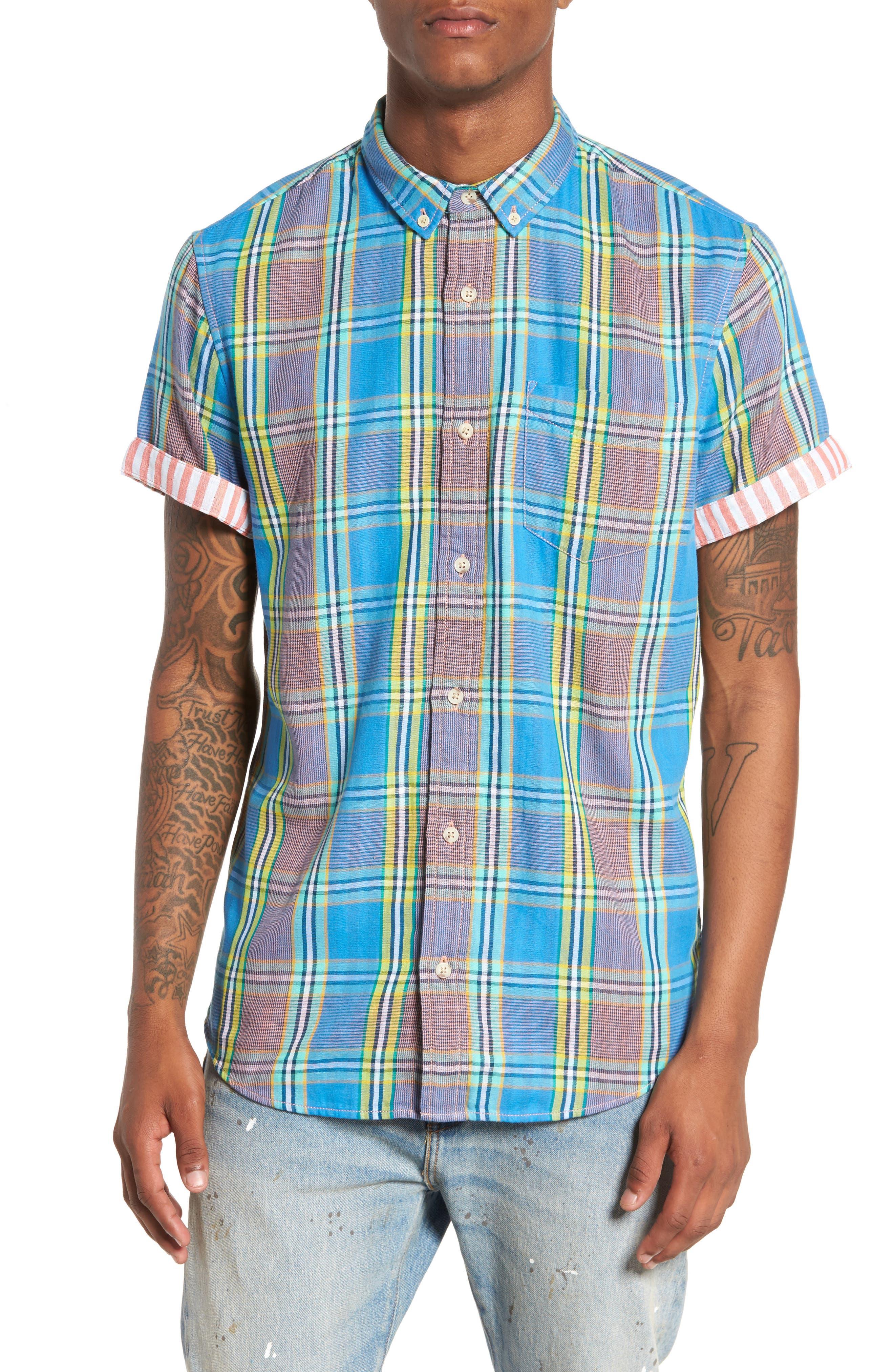 Short Sleeve Plaid Duofold Shirt,                         Main,                         color, 420