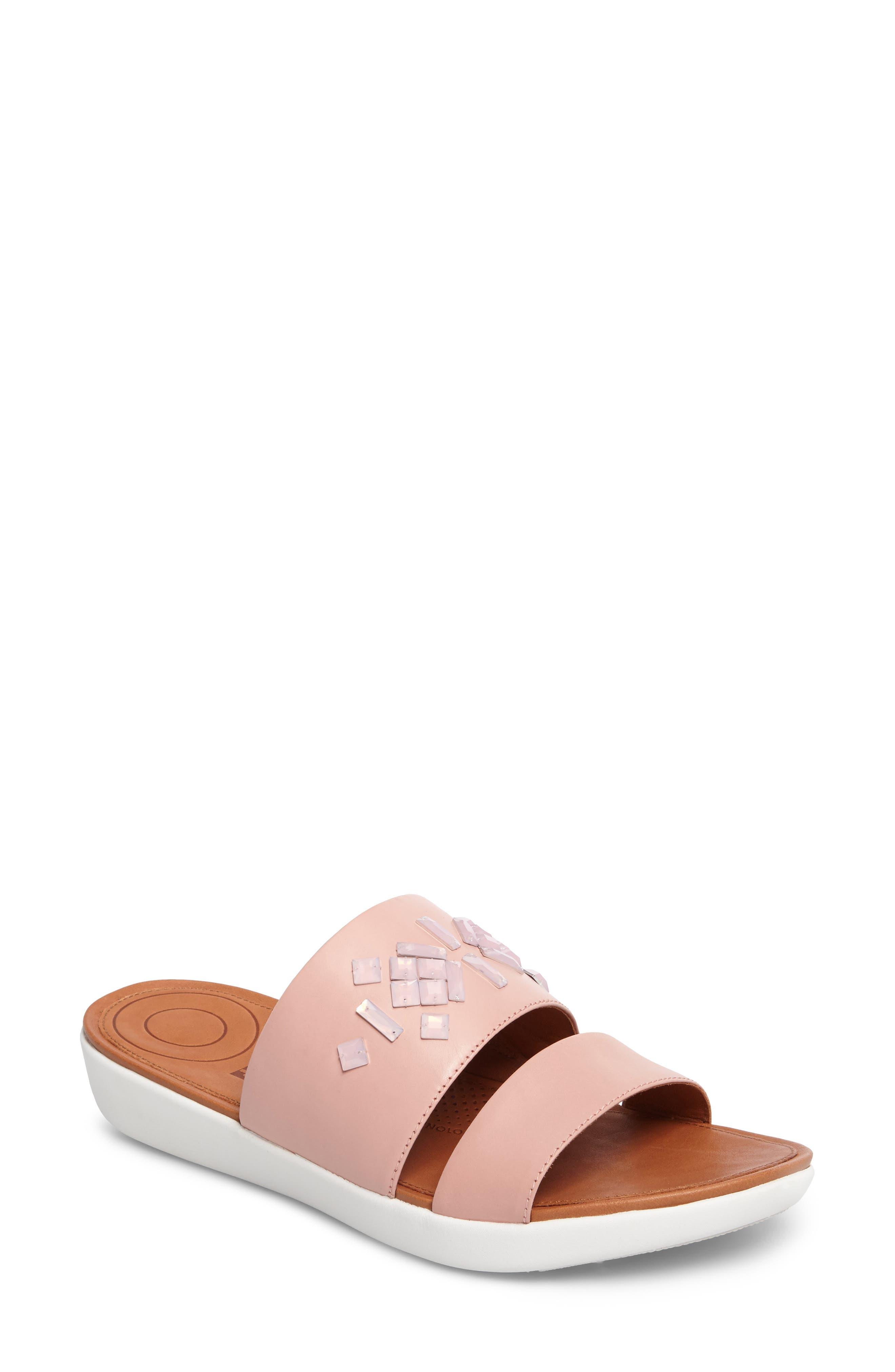 FITFLOP Delta Slide Sandal, Main, color, DUSTY PINK LEATHER