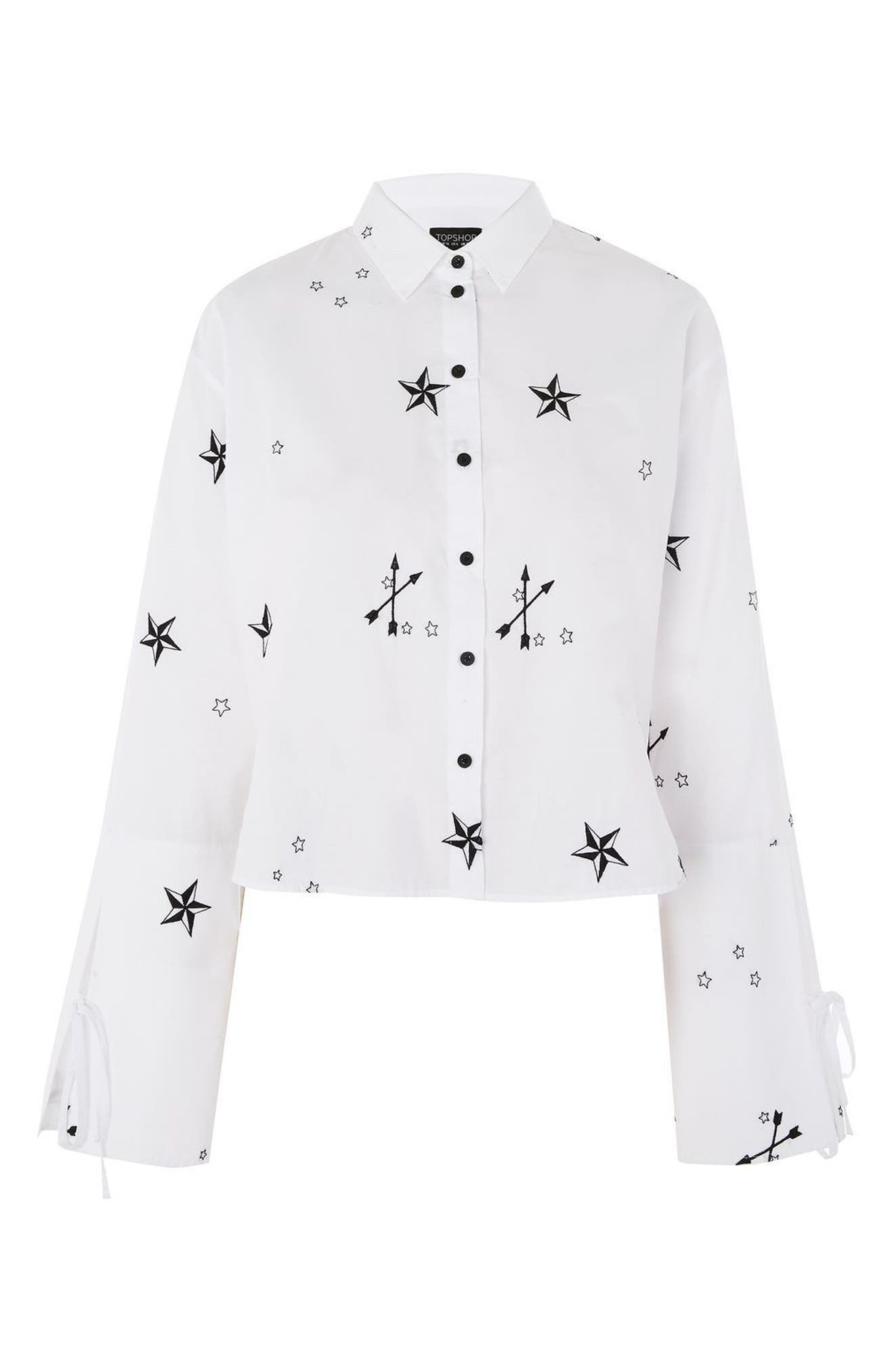 TOPSHOP,                             Star Embroidered Shirt,                             Alternate thumbnail 3, color,                             100