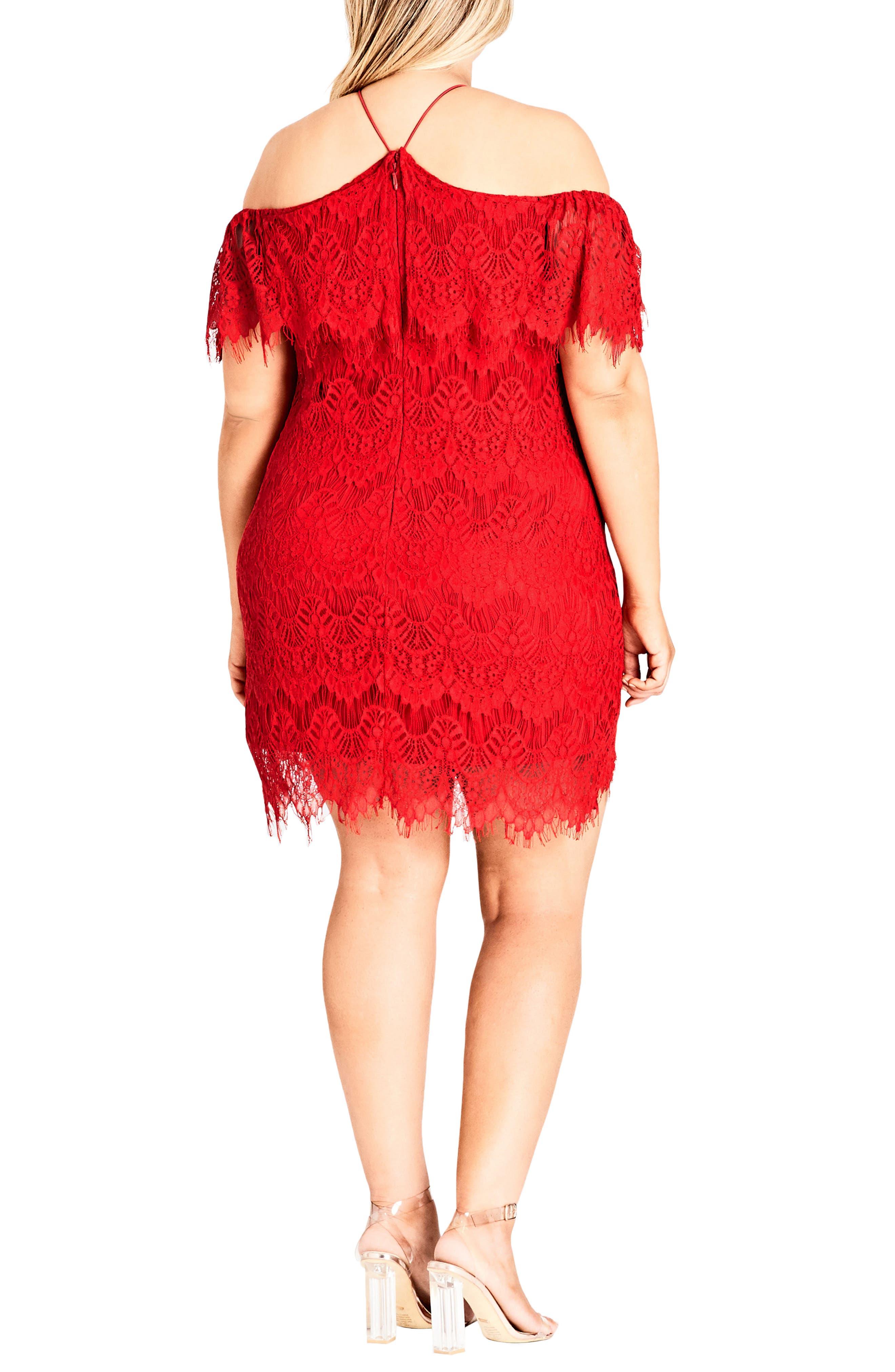 Lace Devotion Off the Shoulder Minidress,                             Alternate thumbnail 2, color,                             RED