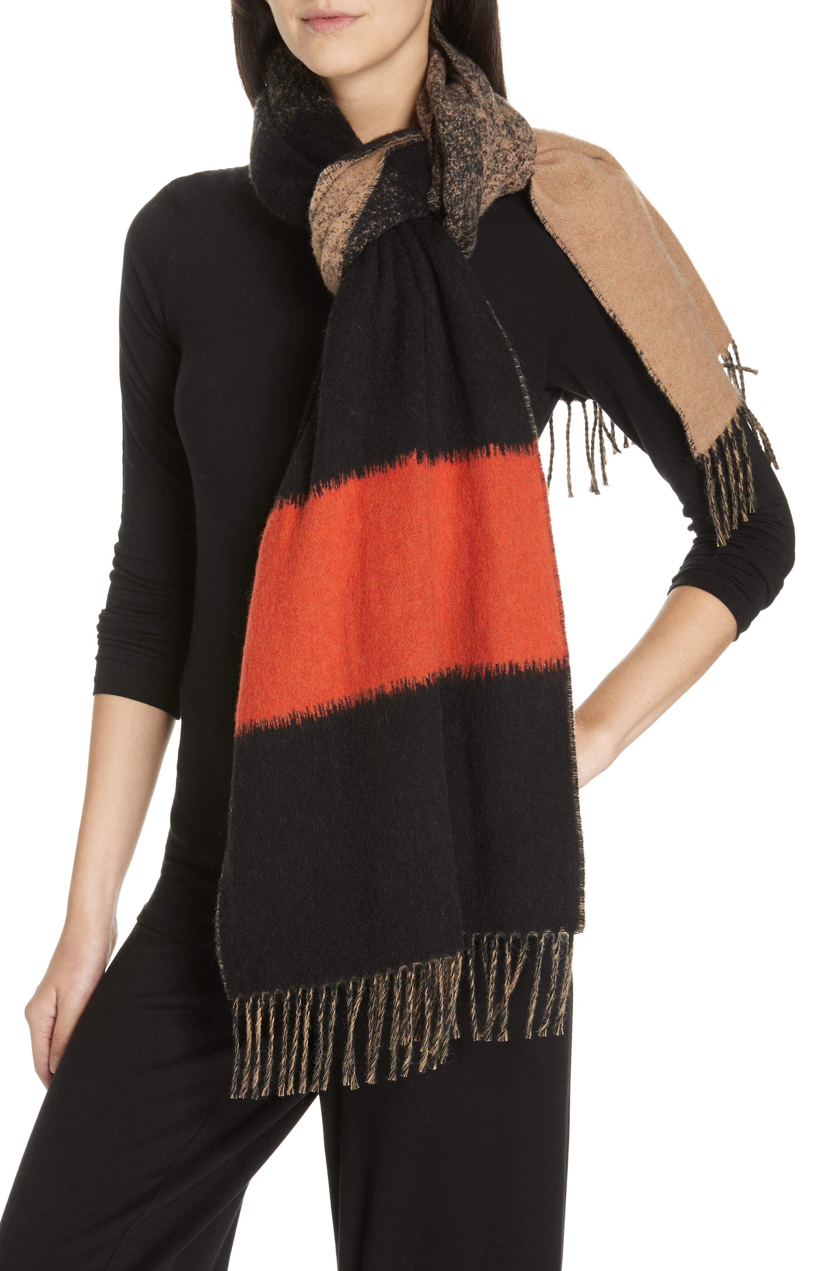 EILEEN FISHER Colorblock Wool Blend Scarf, Main, color, HOT RED