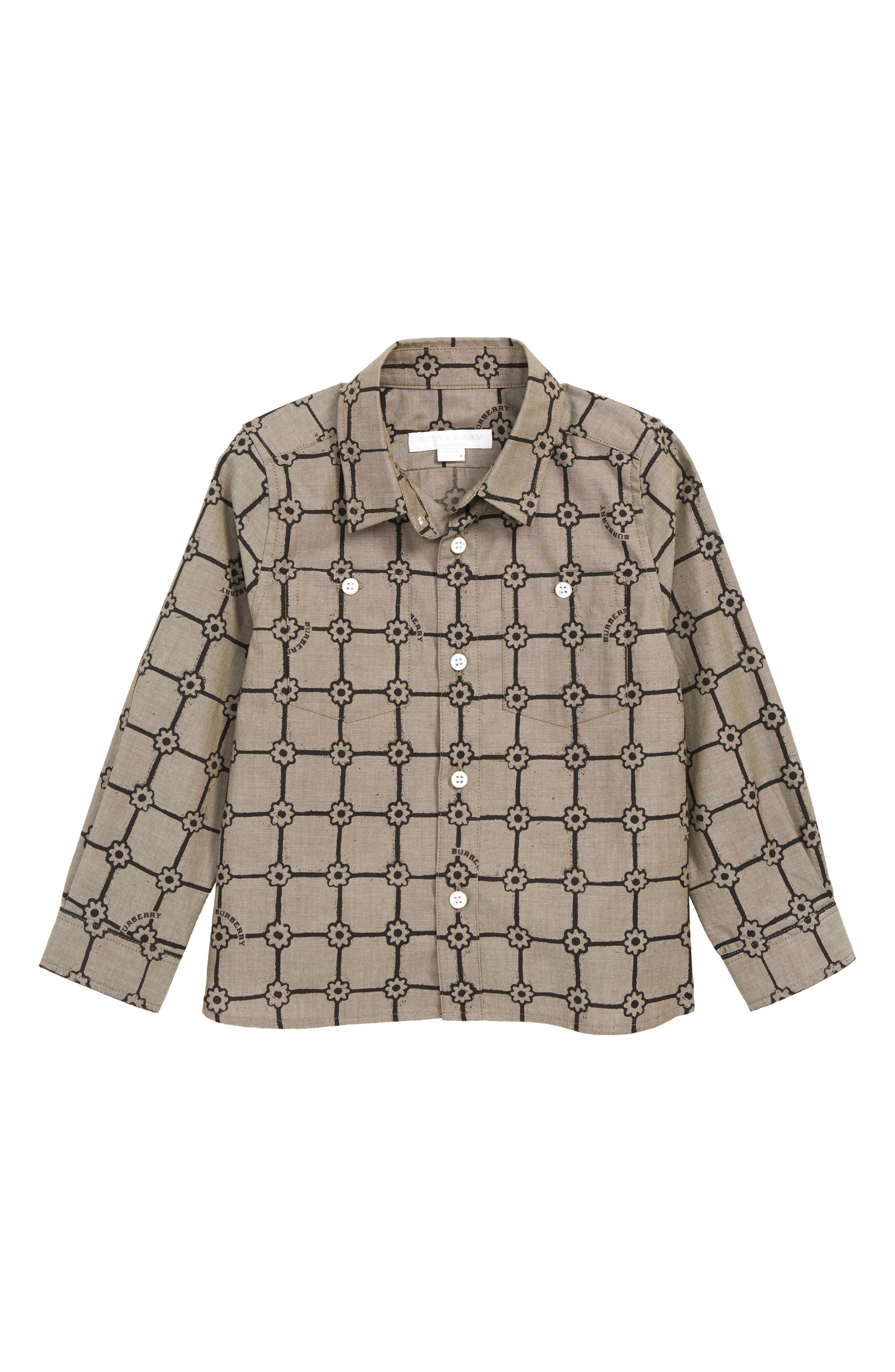 Beagle Grid Sport Shirt,                         Main,                         color, KHAKI