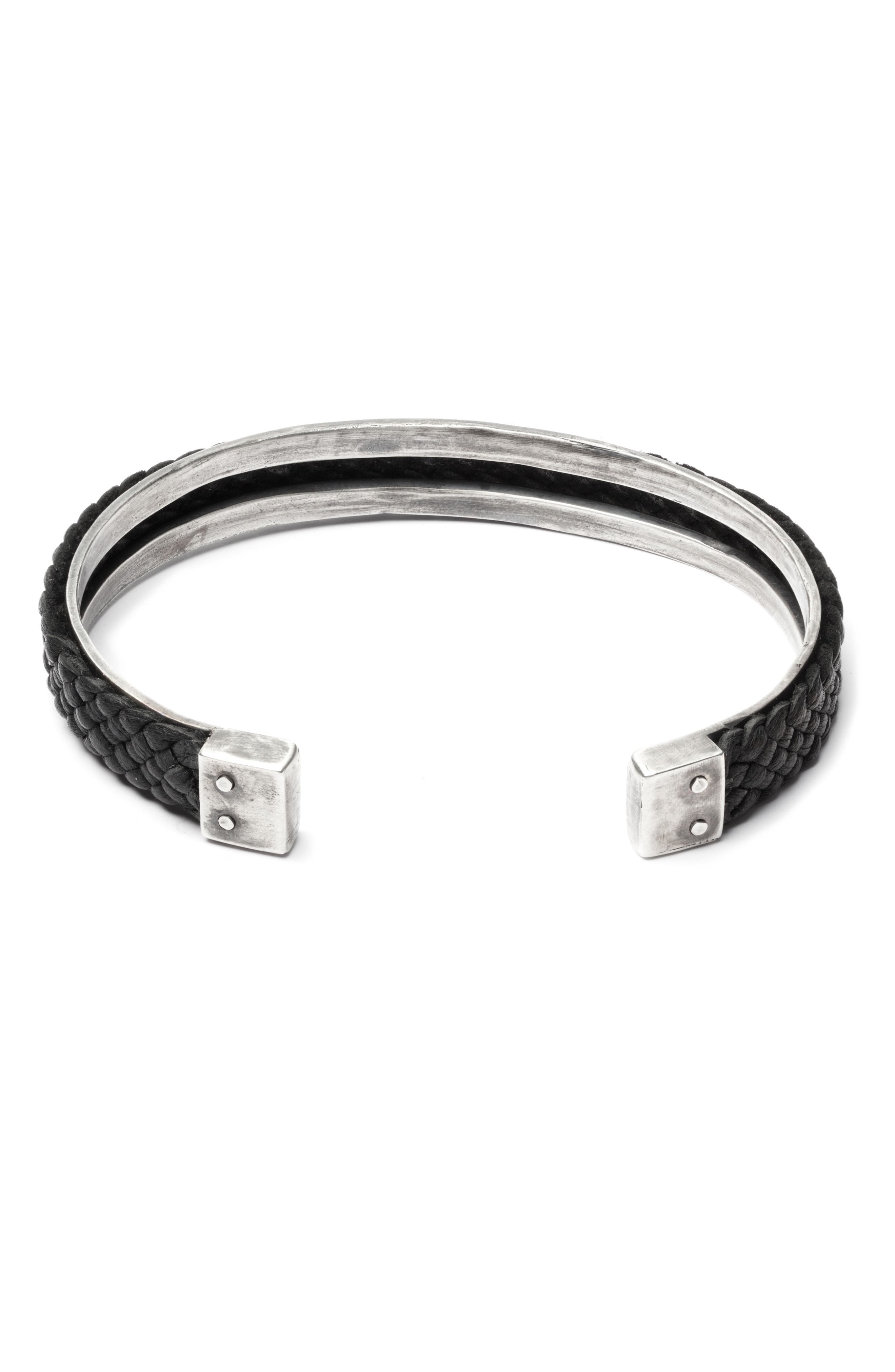 Braided Leather Cuff Bracelet,                         Main,                         color, BLACK/SILVER