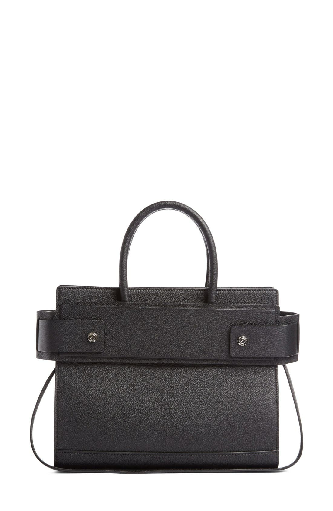 Small Horizon Grained Calfskin Leather Tote,                             Alternate thumbnail 6, color,                             BLACK