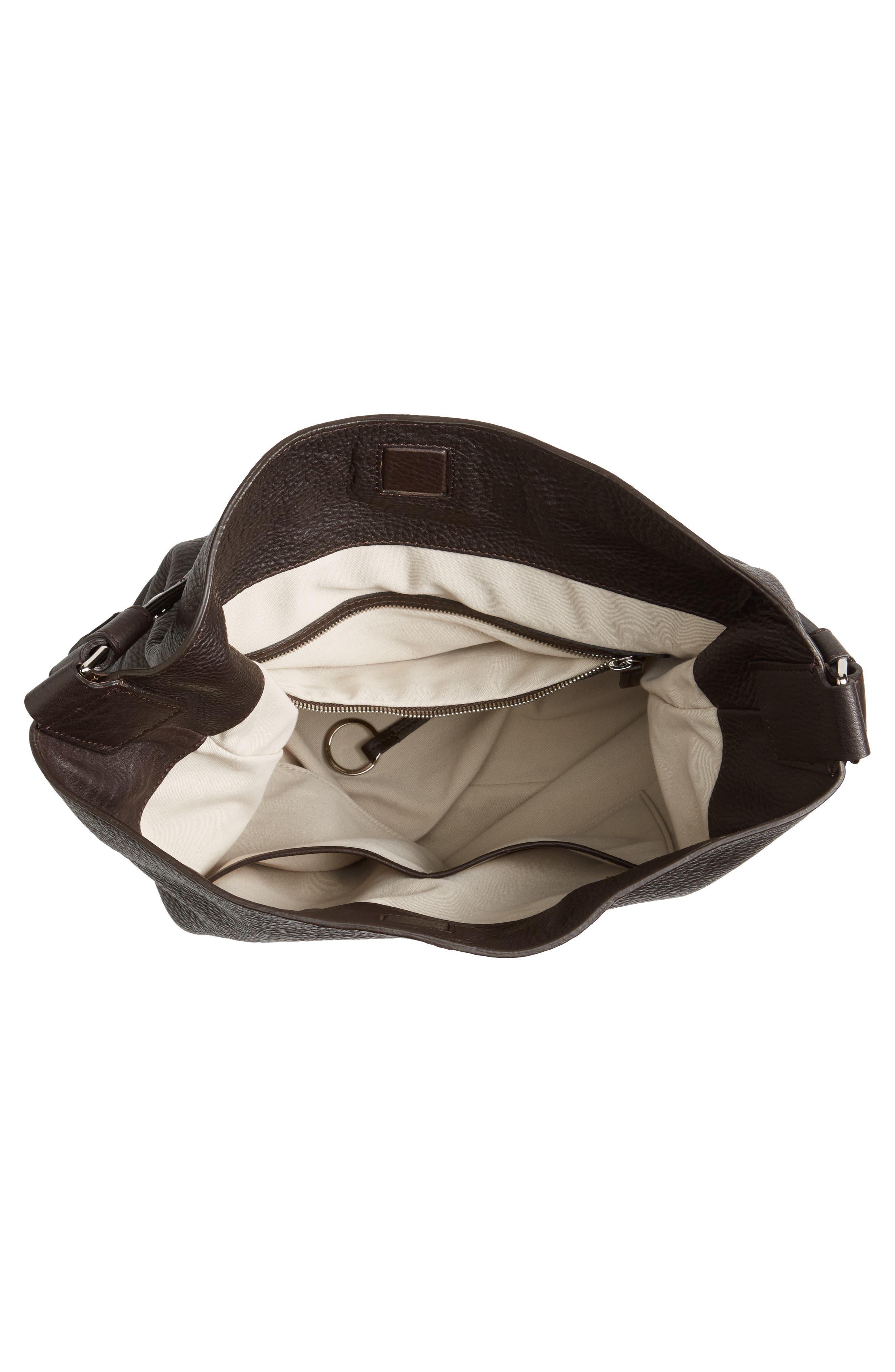 Relaxed Calfskin Leather Hobo Bag,                             Alternate thumbnail 4, color,                             240