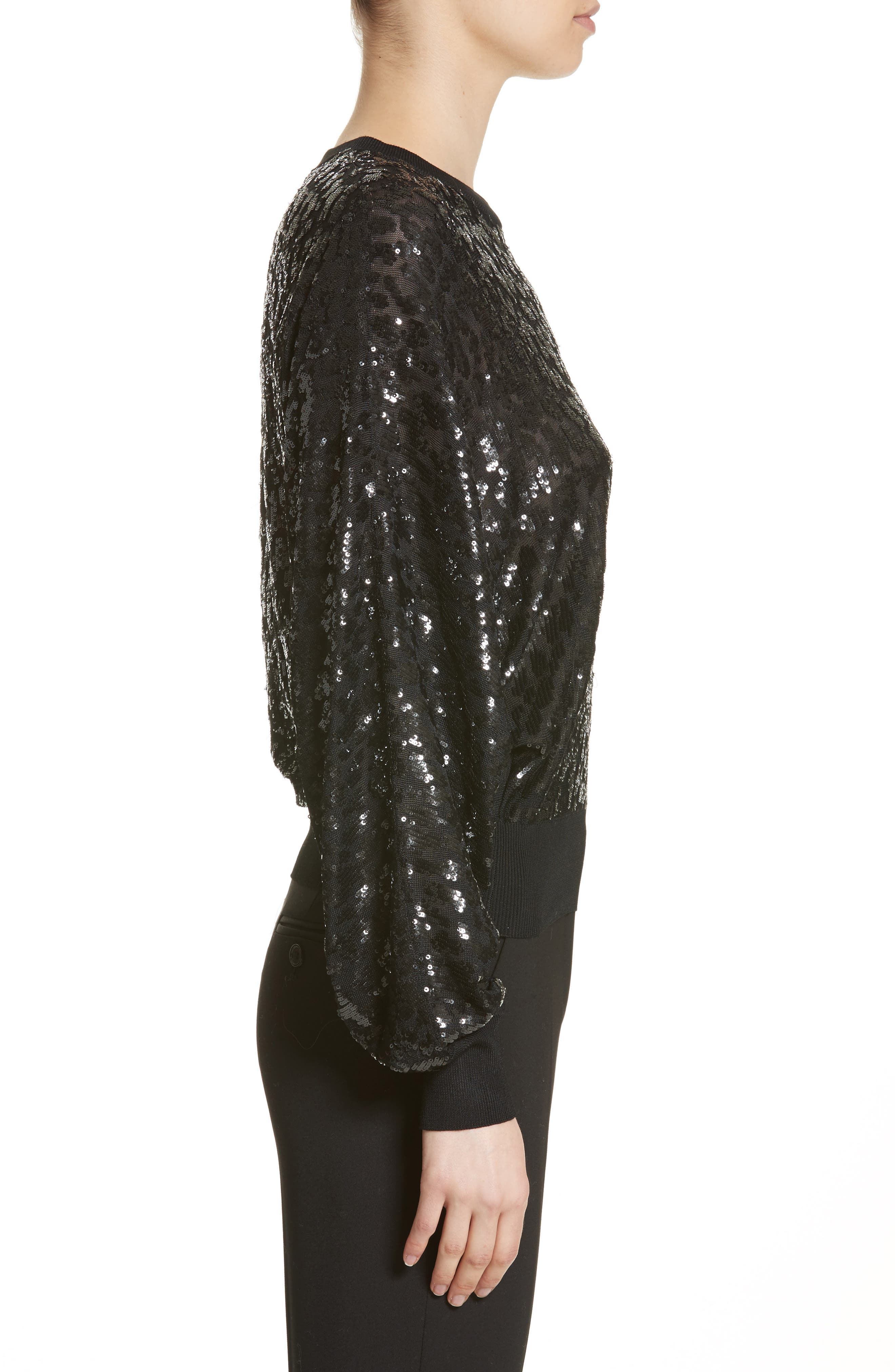 Sequined Tulle Leopard Sweater,                             Alternate thumbnail 3, color,                             001