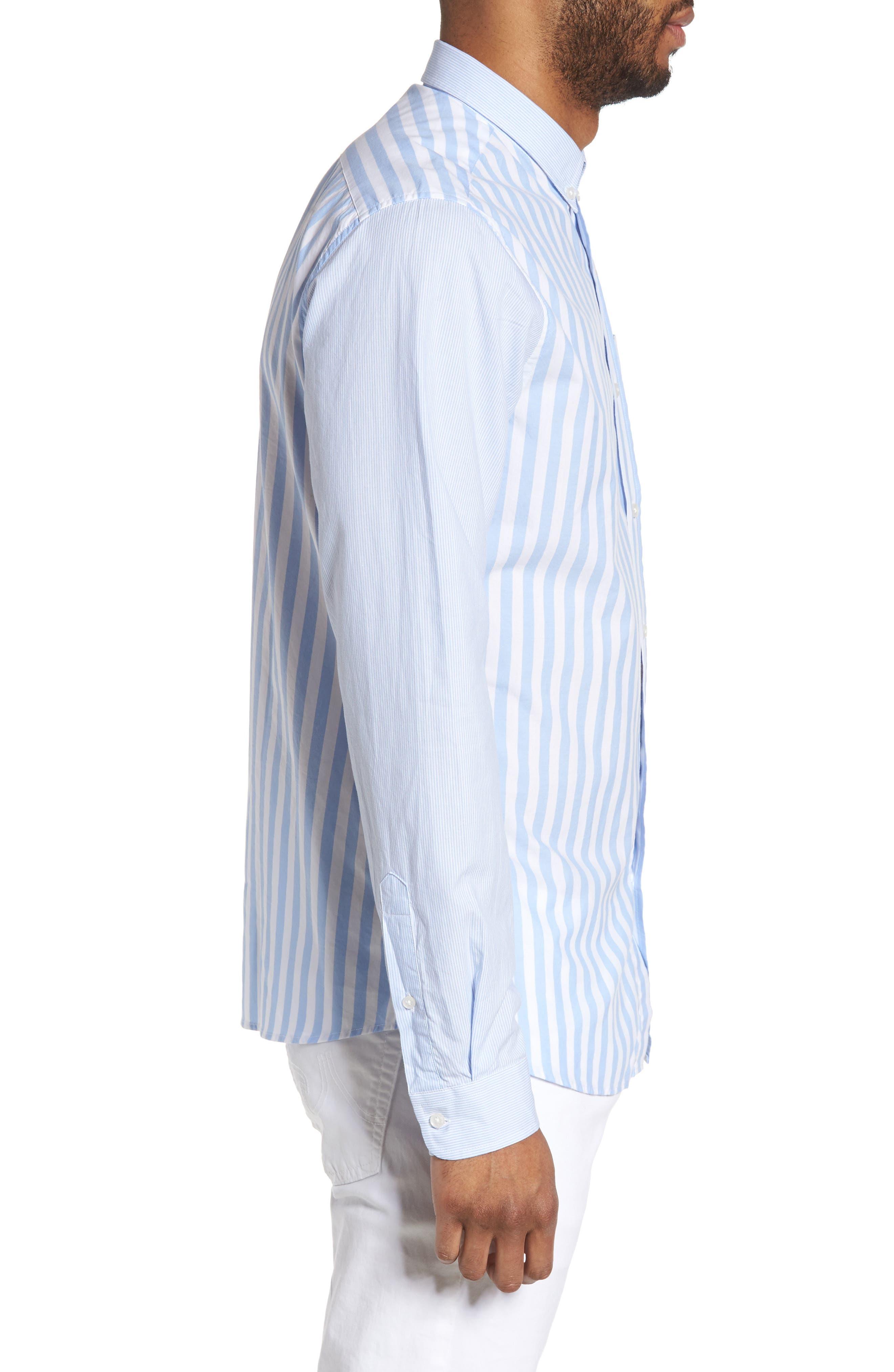 Slim Fit Stripe Sport Shirt,                             Alternate thumbnail 3, color,                             451