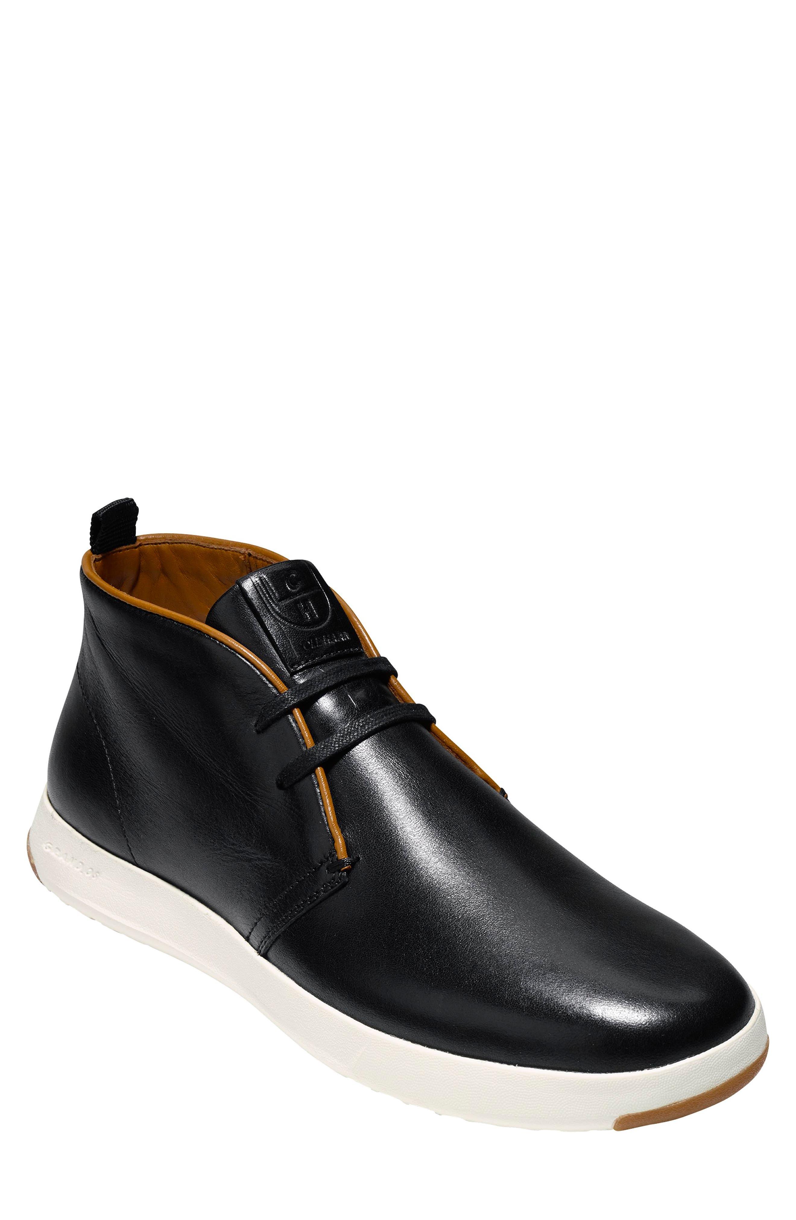 GrandPro Chukka Boot,                         Main,                         color, BLACK/ WHITE LEATHER