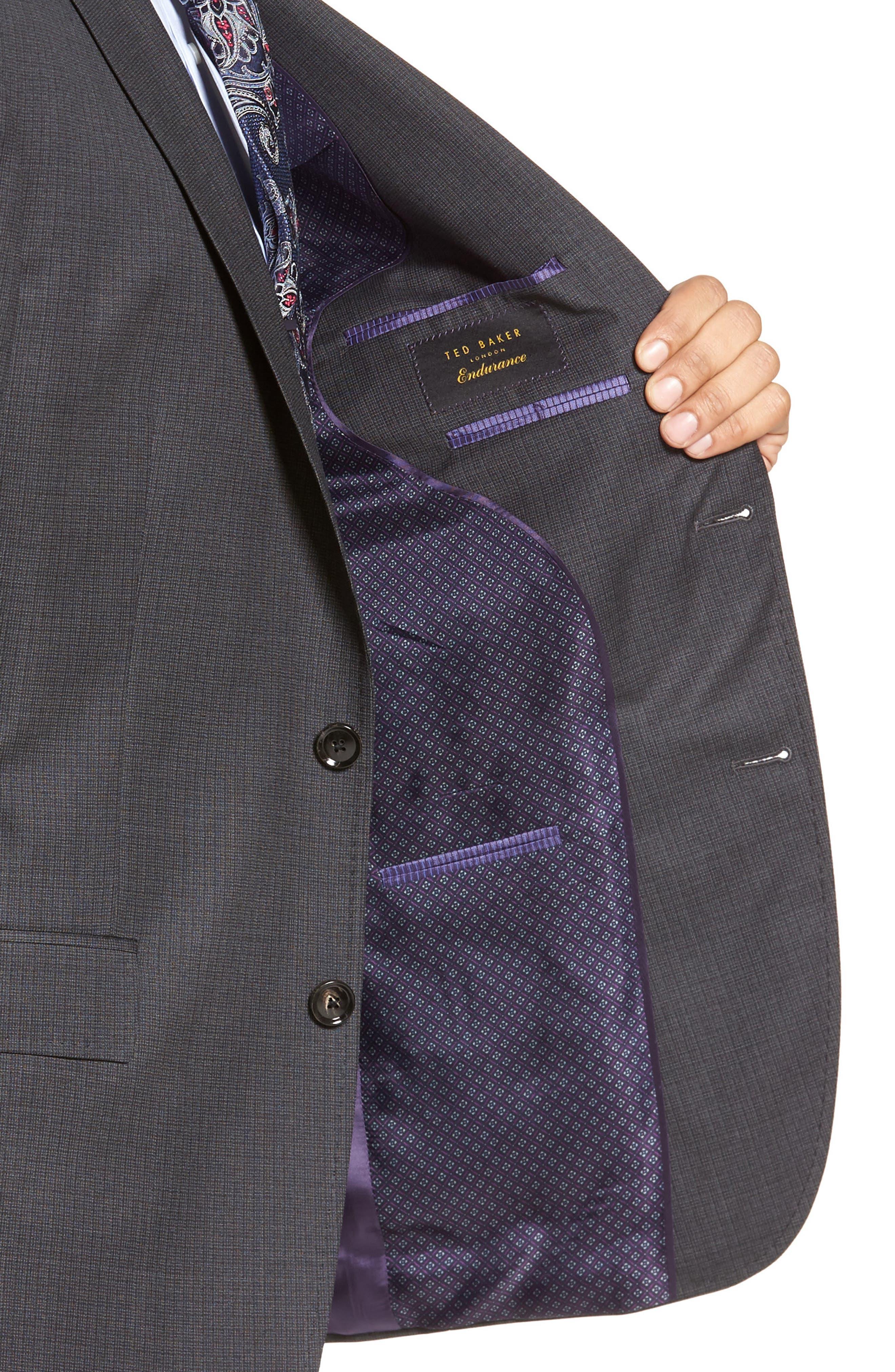 Jay Trim Fit Check Wool Suit,                             Alternate thumbnail 4, color,                             020