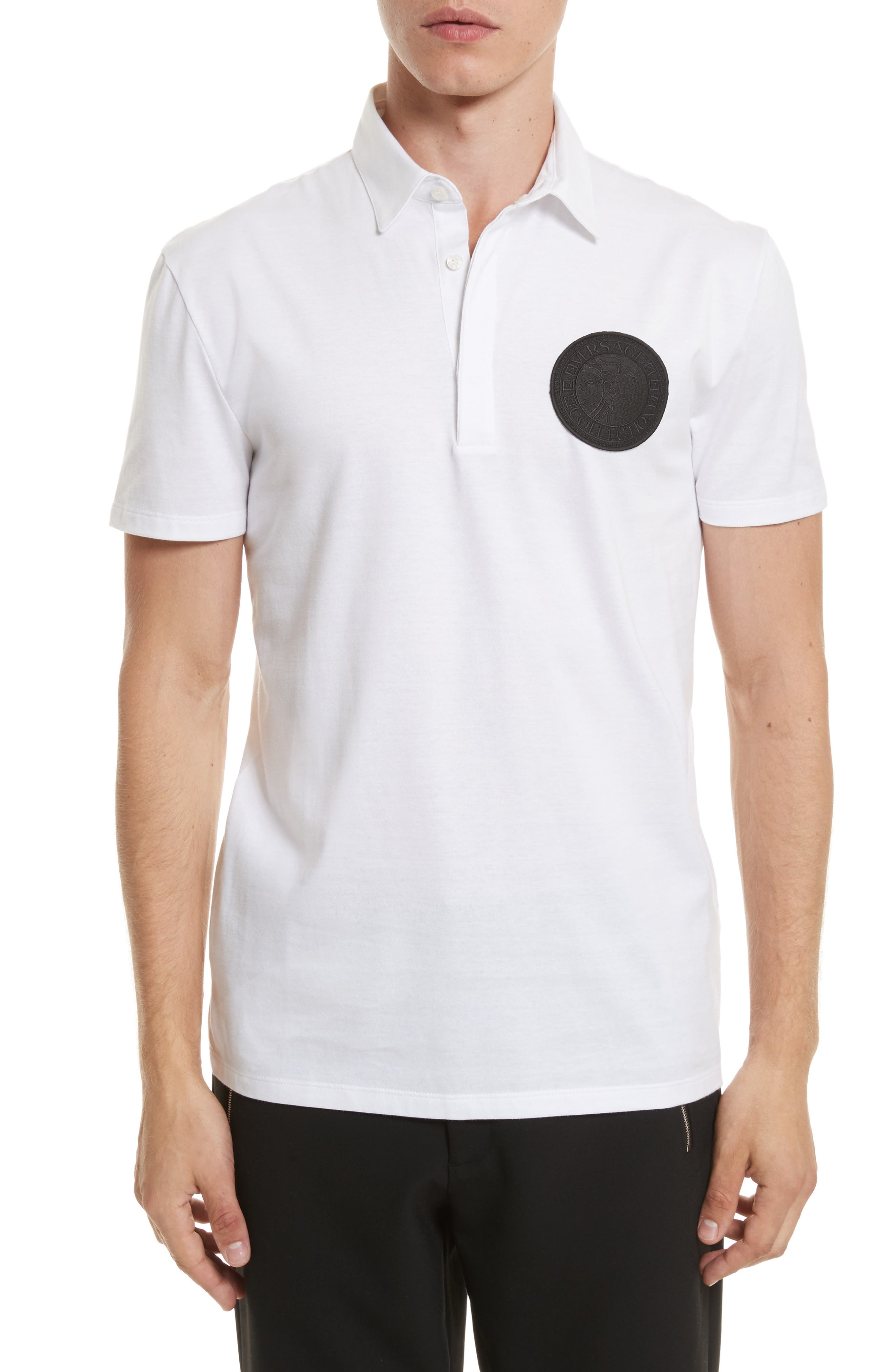 VERSACE COLLECTION,                             Logo Patch Jersey Polo,                             Main thumbnail 1, color,                             WHITE