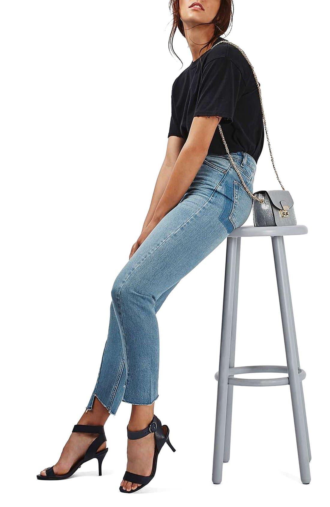 Mom Asymmetrical Step Hem Jeans,                             Alternate thumbnail 4, color,                             400