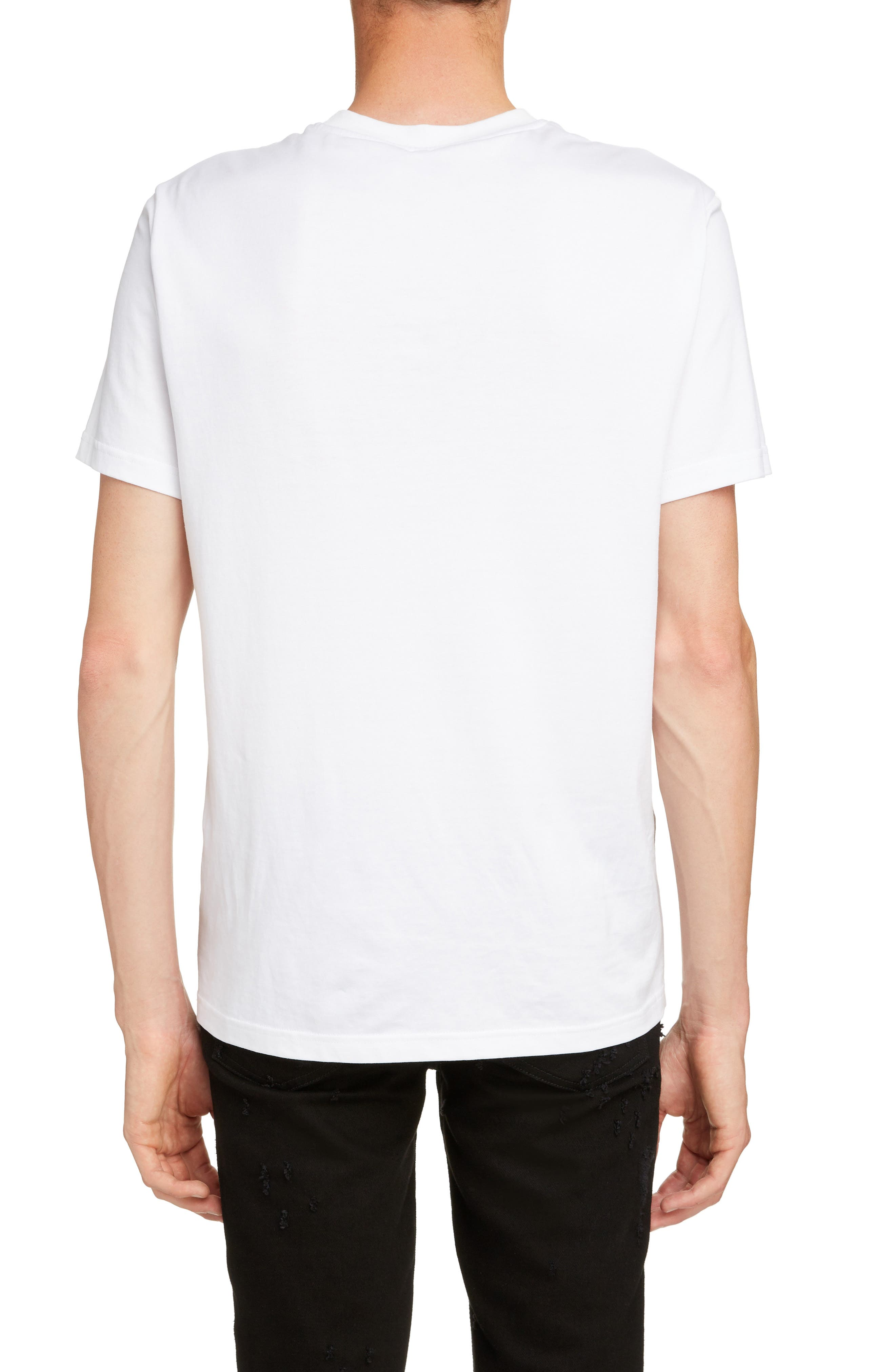 Vertical Logo Embroidered T-Shirt,                             Alternate thumbnail 2, color,                             WHITE